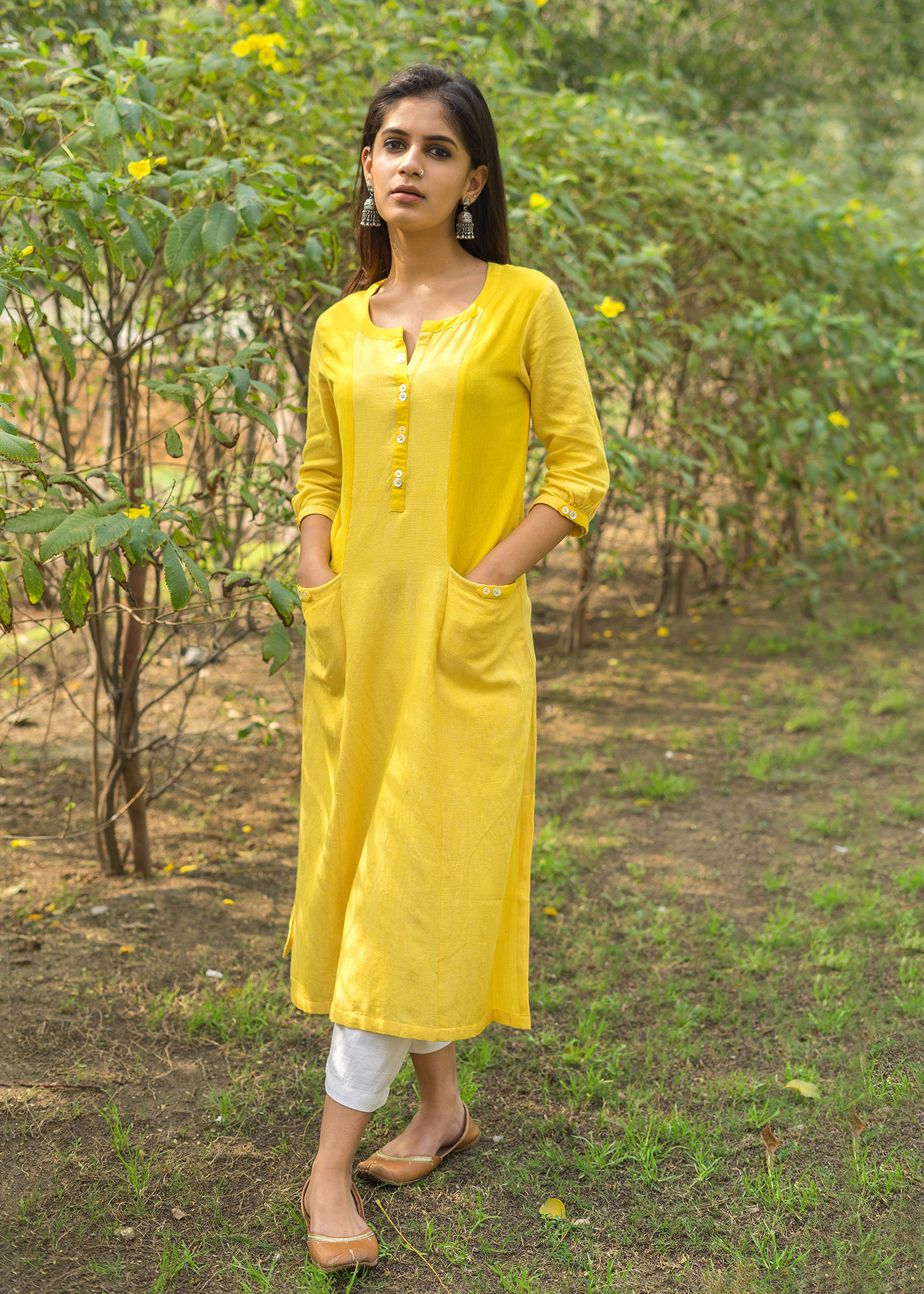 Lemon Yellow Tunic with Front Pockets