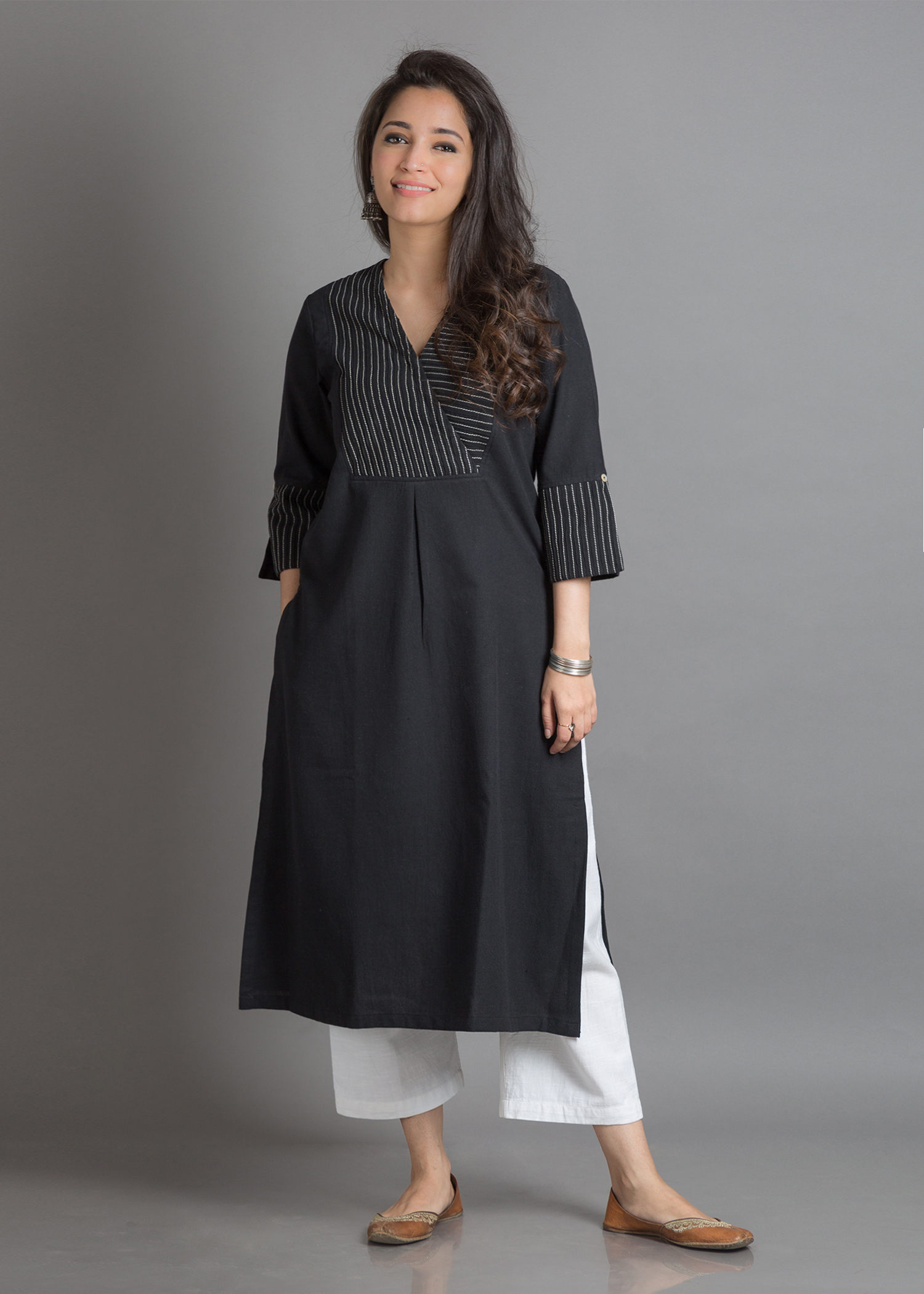 Black Pintuck & Tagai Handwoven Cotton Kurta