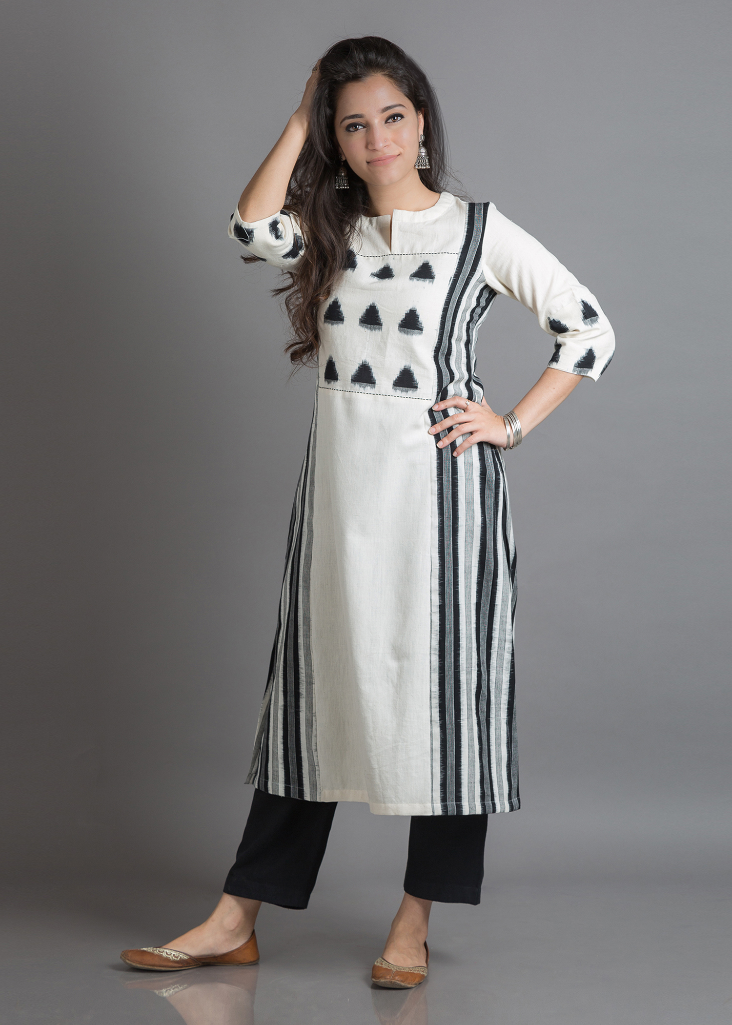 Off-White & Black Handwoven Cotton Kurta with Ikat Yoke