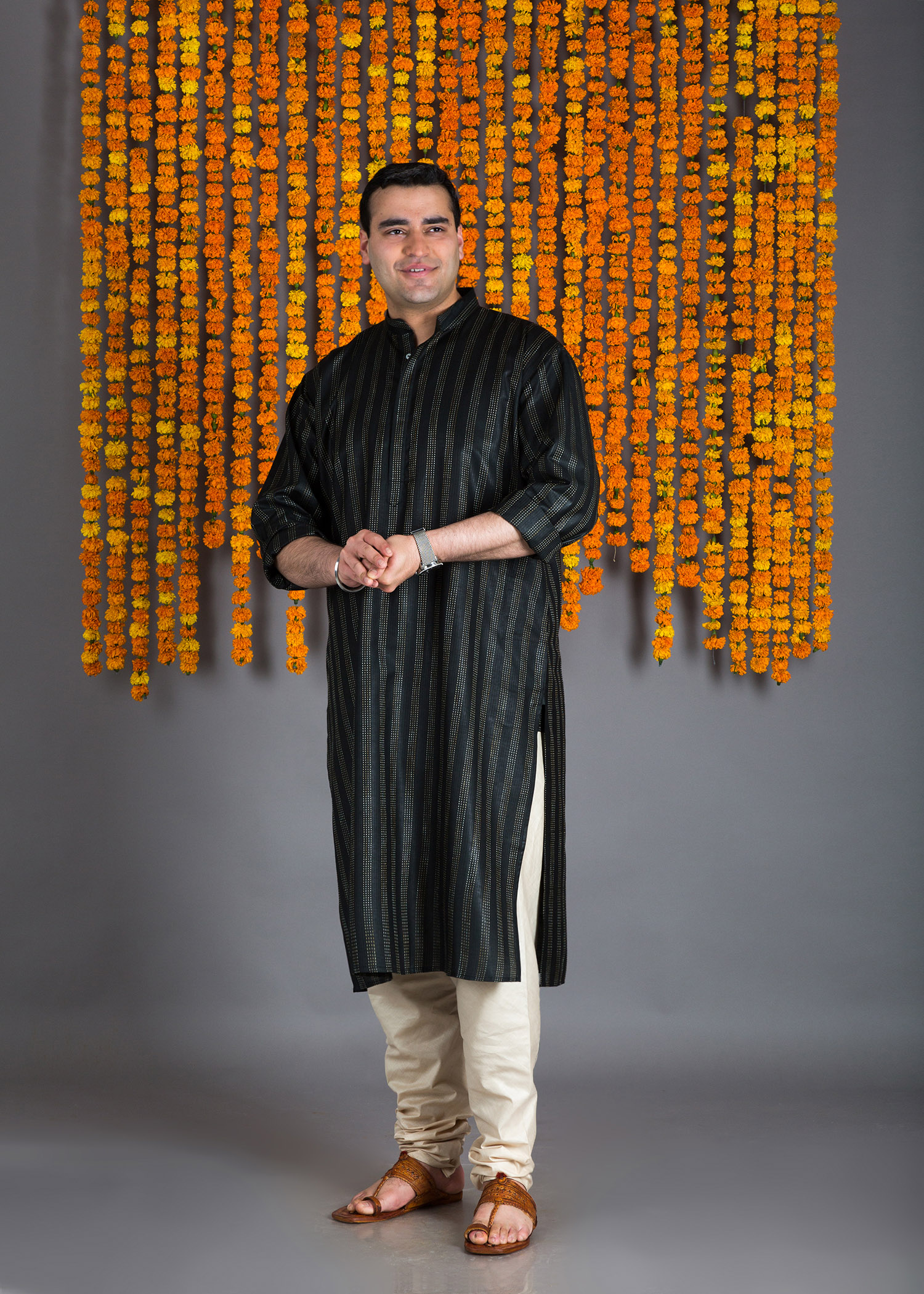 Black Silk Cotton Kurta with Kacha Taka