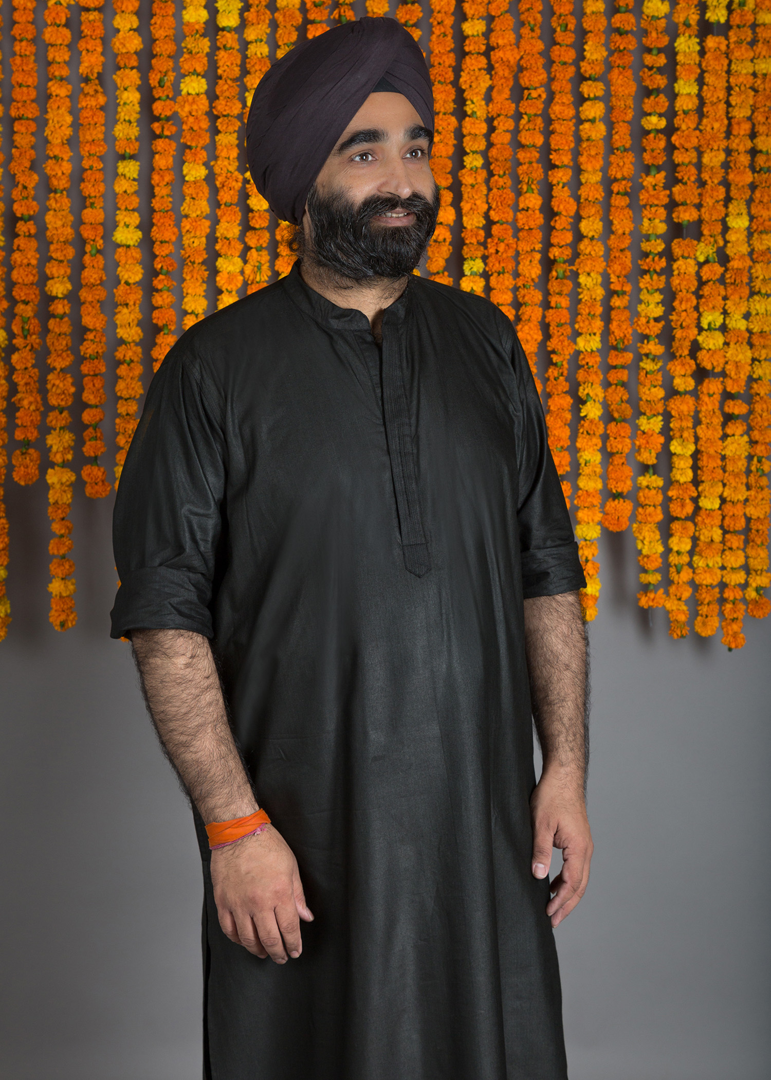 Black Silk Cotton Kurta with Pintucks