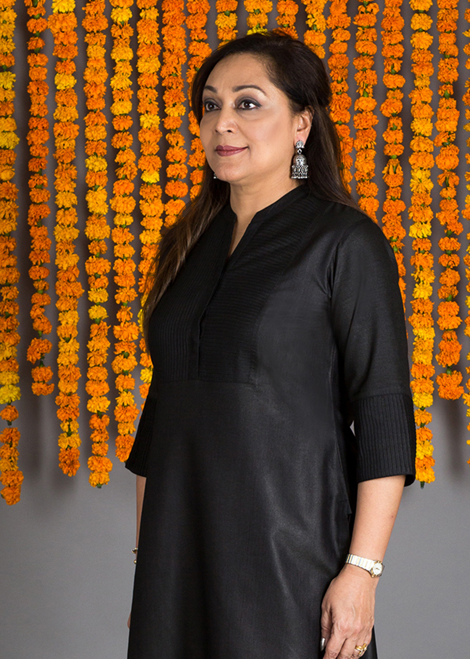 Black Silk Cotton Pintuck Kurta