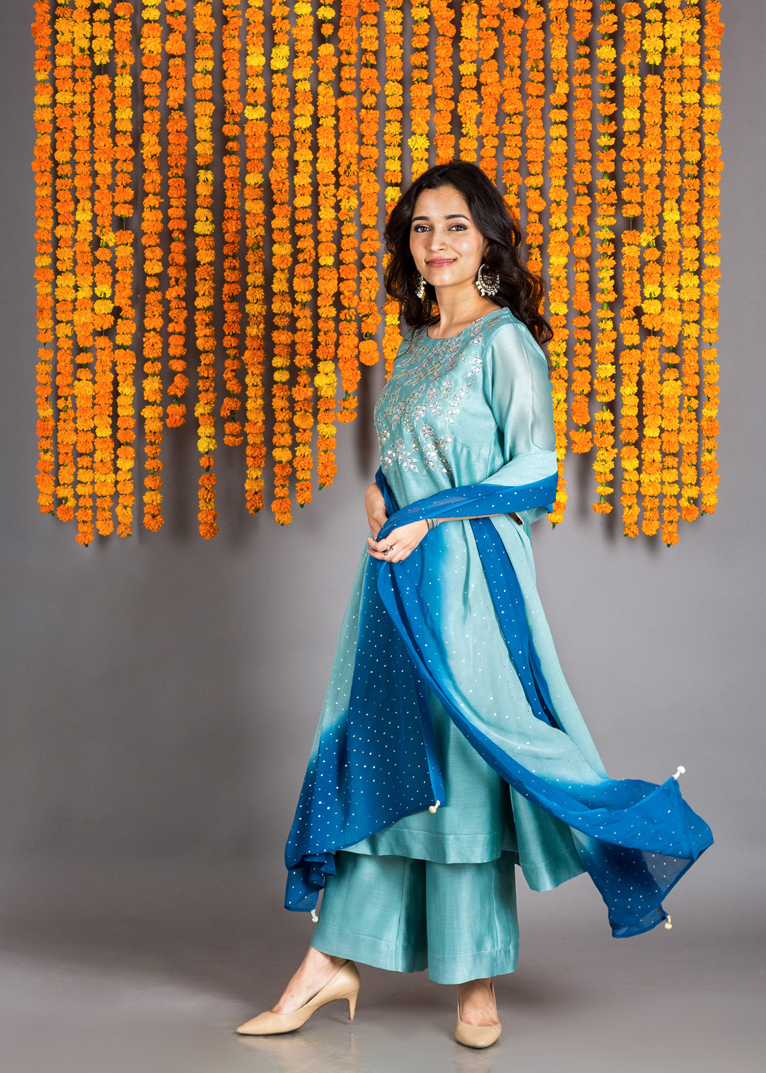 Blue Sitaara Silk Chanderi Kurta with Gota Patti & Mokaish Dupatta