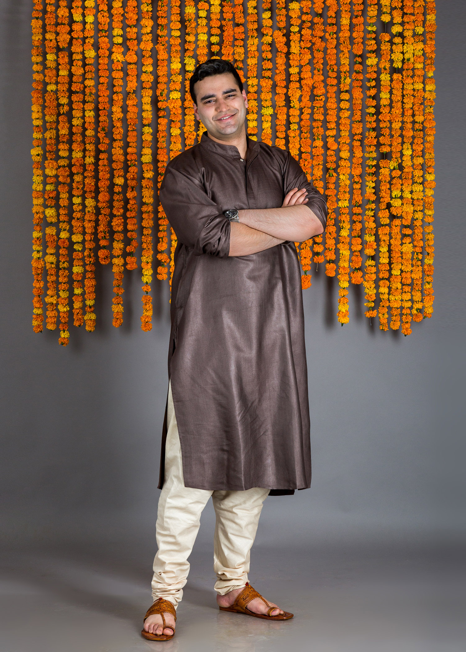 Coffee Brown Silk Cotton Kurta