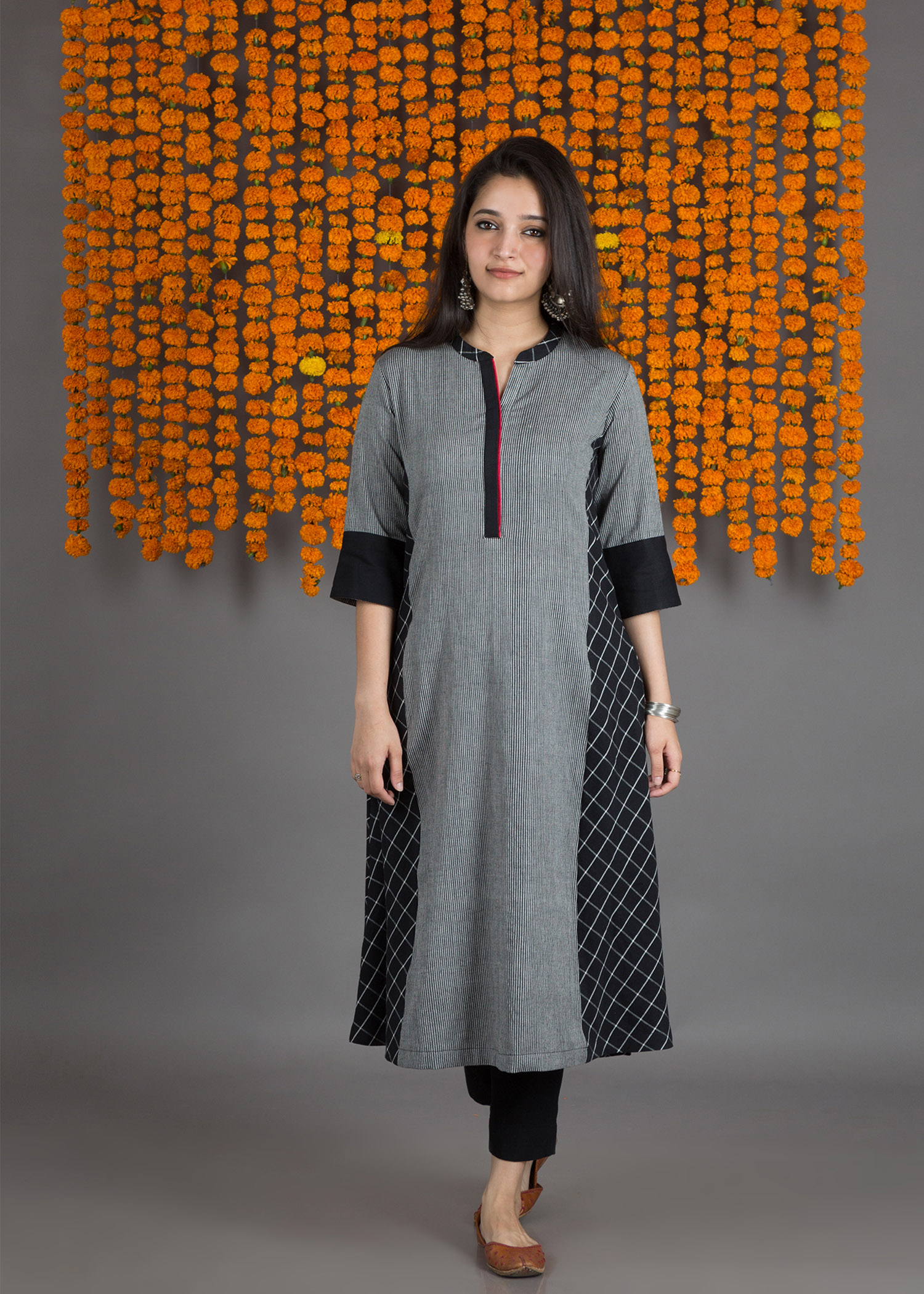 The Black-White Stripe & Check Panel Kurta