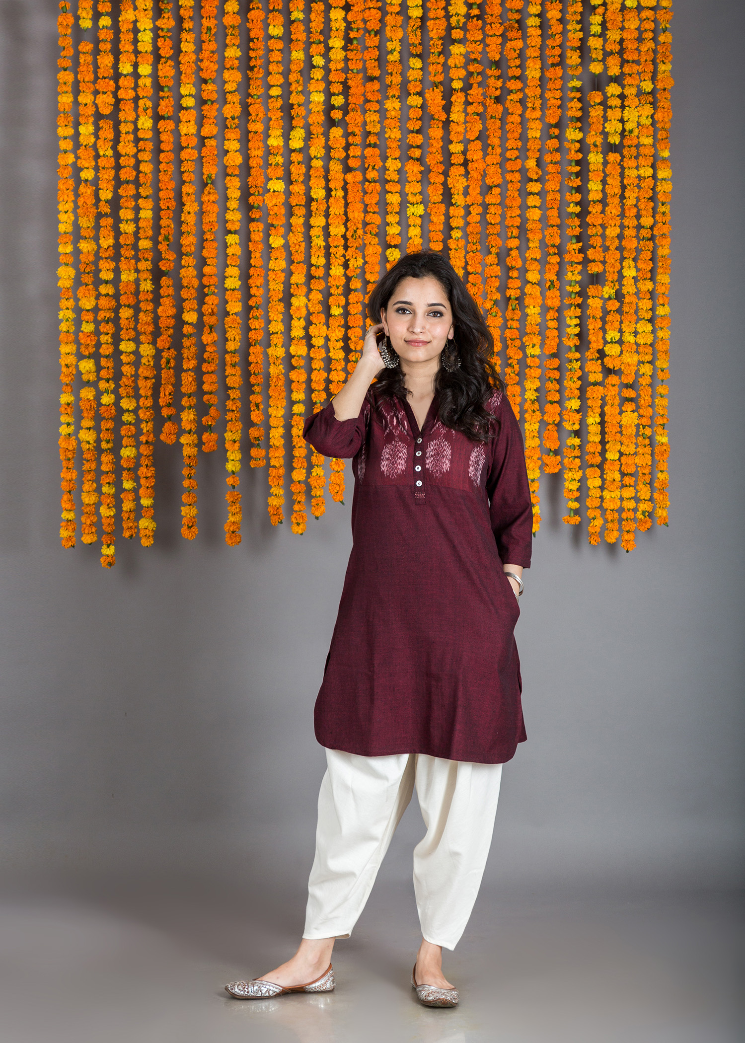 The Burgundy Short Kurta with Ikat