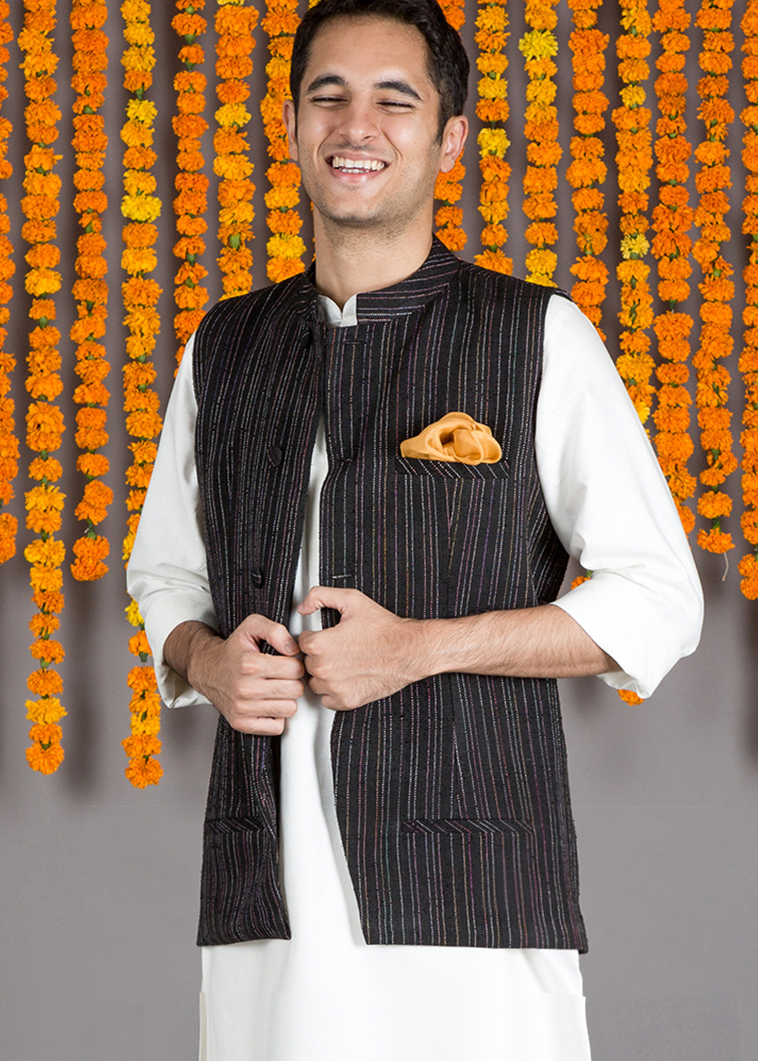 Black Multi-Color Kacha Taka Nehru Jacket