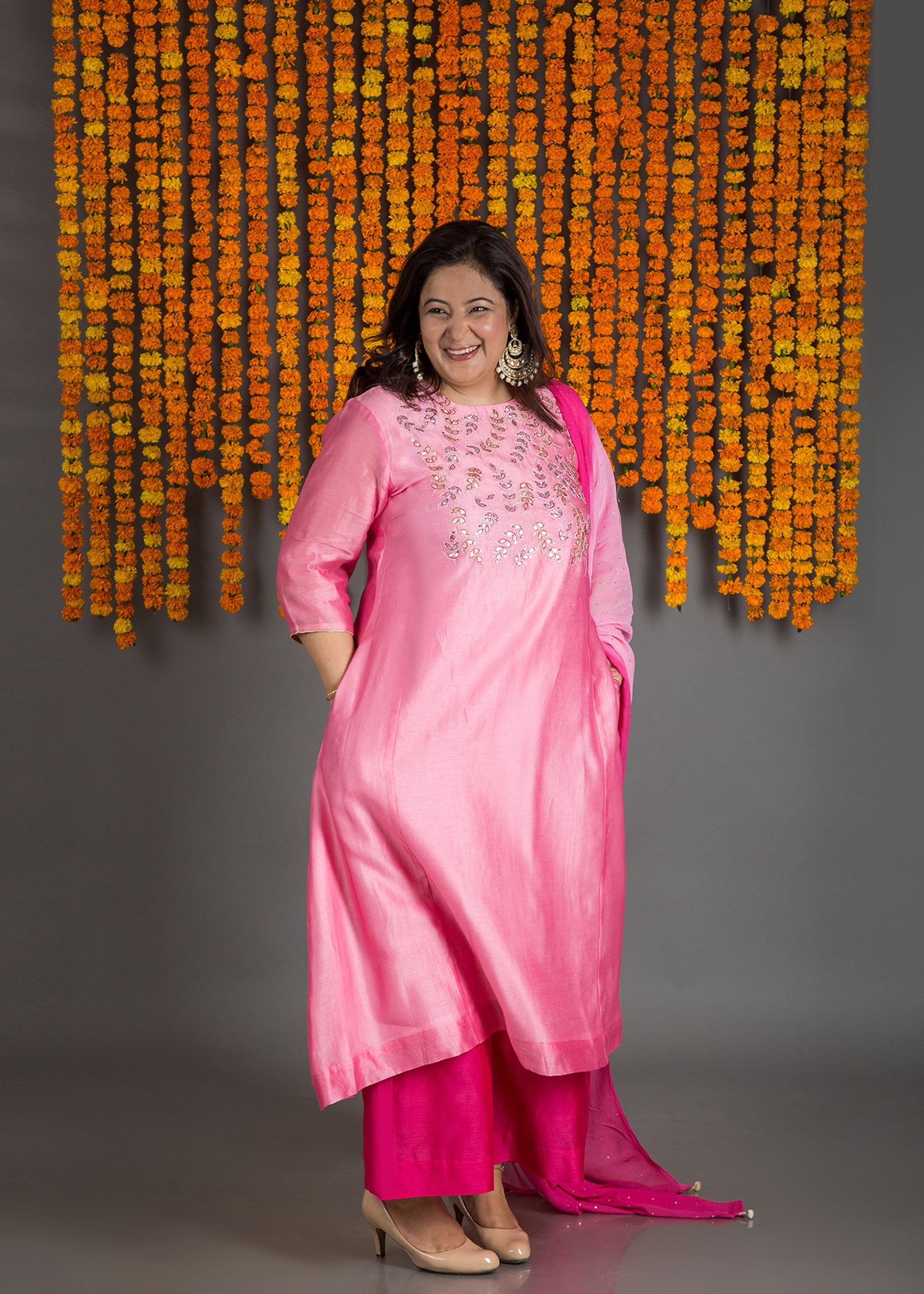 Pink Sitaara Silk Chanderi Pants