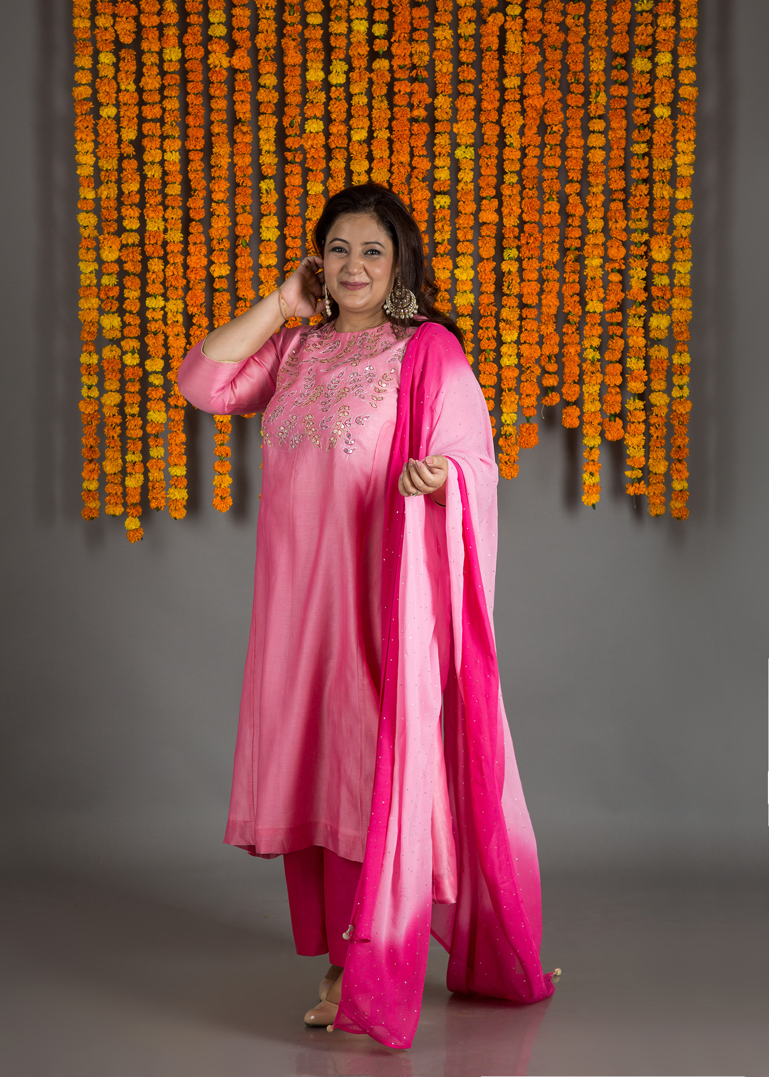 Pink Sitaara Silk Chanderi Kurta with Gota Patti & Mokaish Dupatta