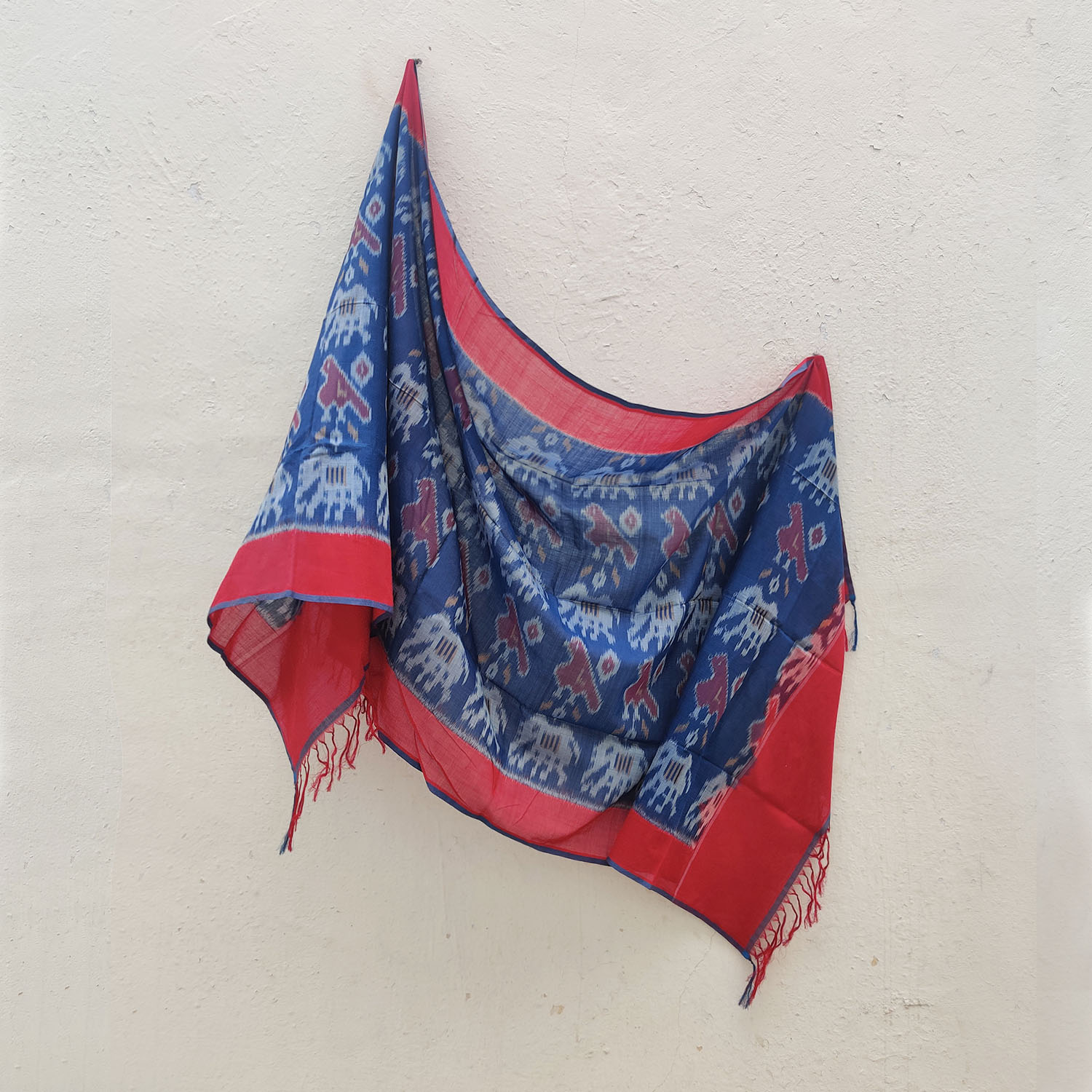 Blue & Red Bird-Elephant Motif Mercerised Cotton Ikat Dupatta