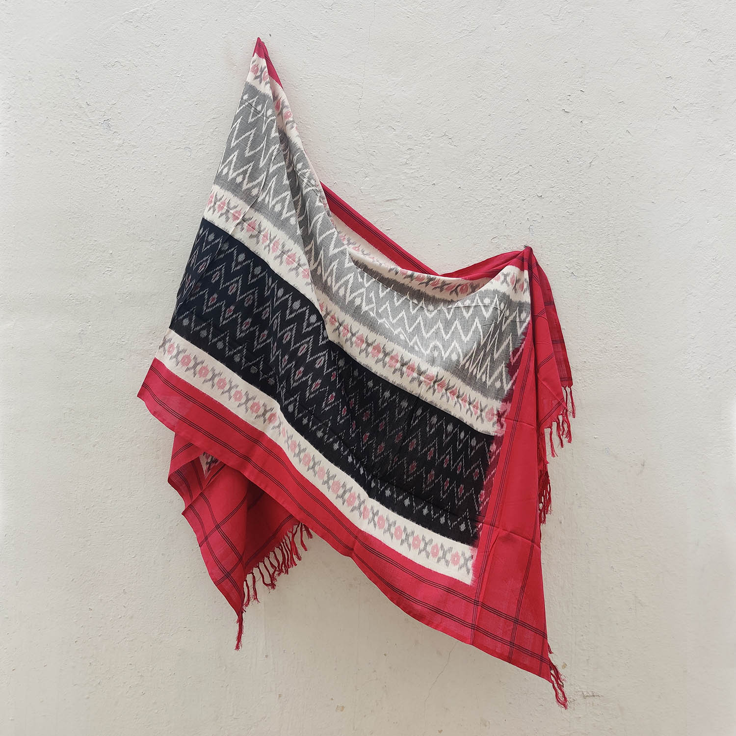 Red, White & Black Cotton Ikat Dupatta