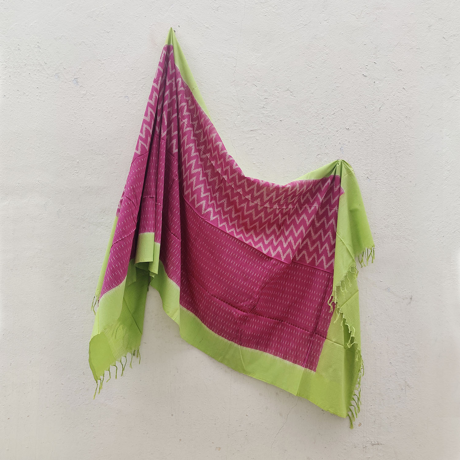 Raspberry & Green Half & Half Weave Cotton Ikat Dupatta