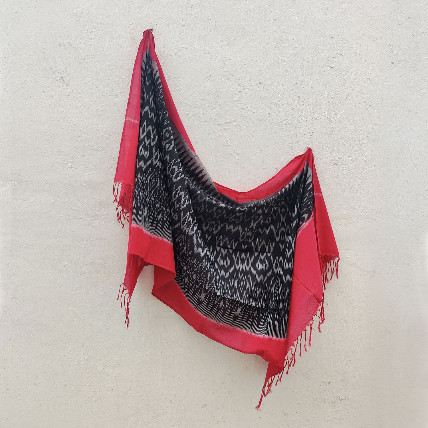 Charcoal & Red Mercerised Cotton Ikat Dupatta