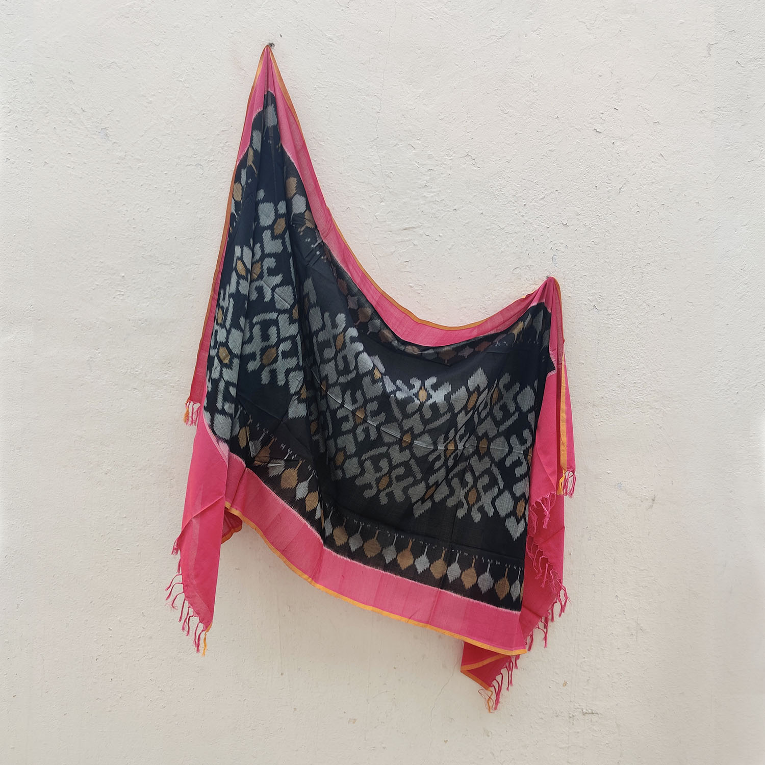 Charcoal & Pink Mercerised Cotton Ikat Dupatta