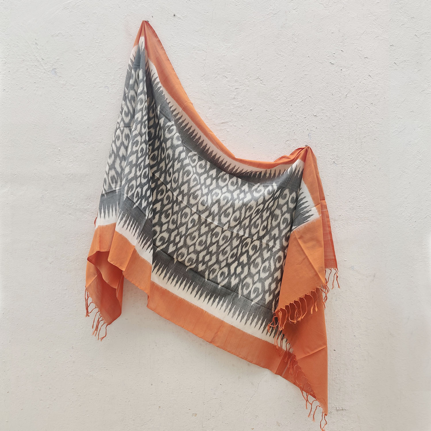 Grey & Tangerine Mercerised Cotton Ikat Dupatta