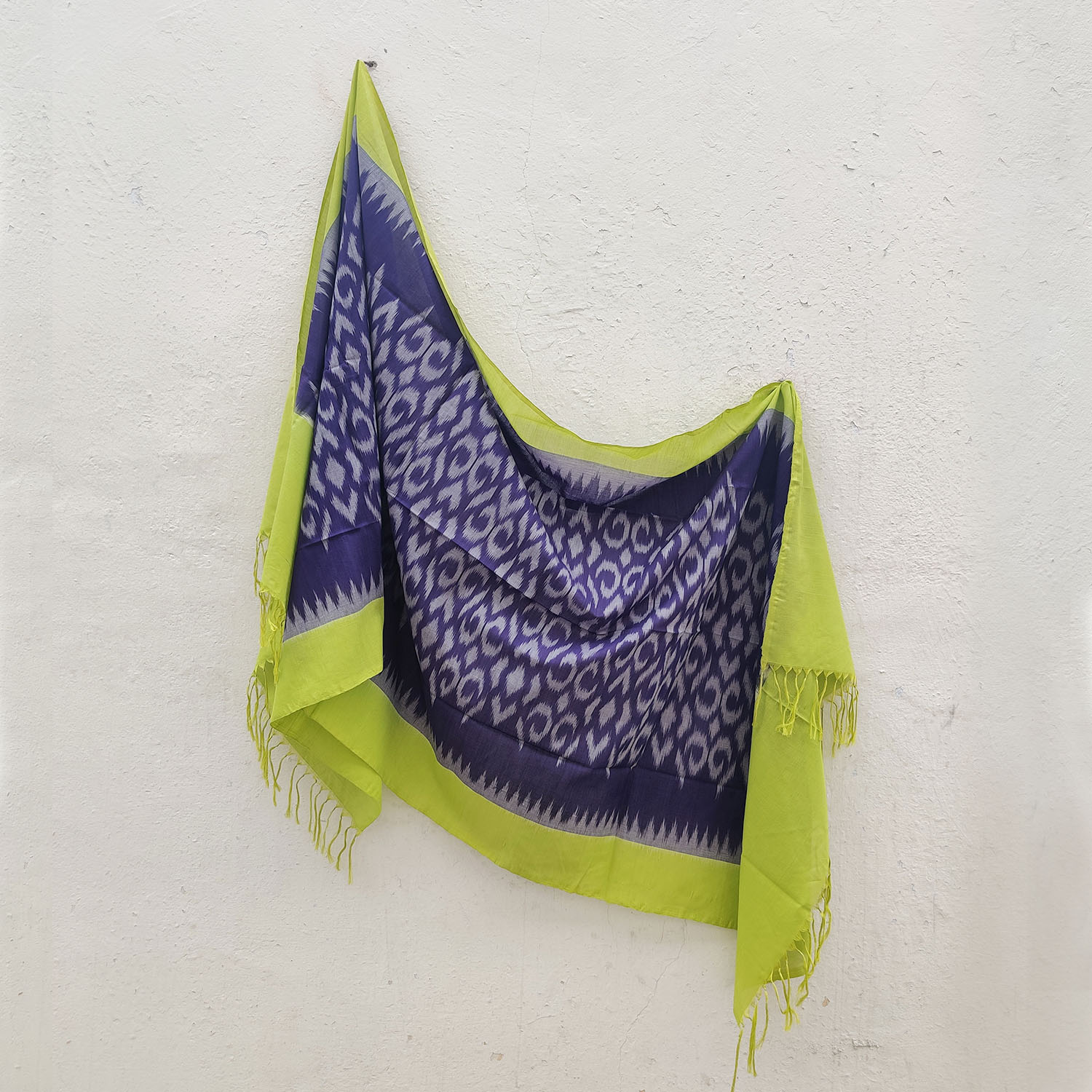 Grape Purple & Green Mercerised Cotton Ikat Dupatta