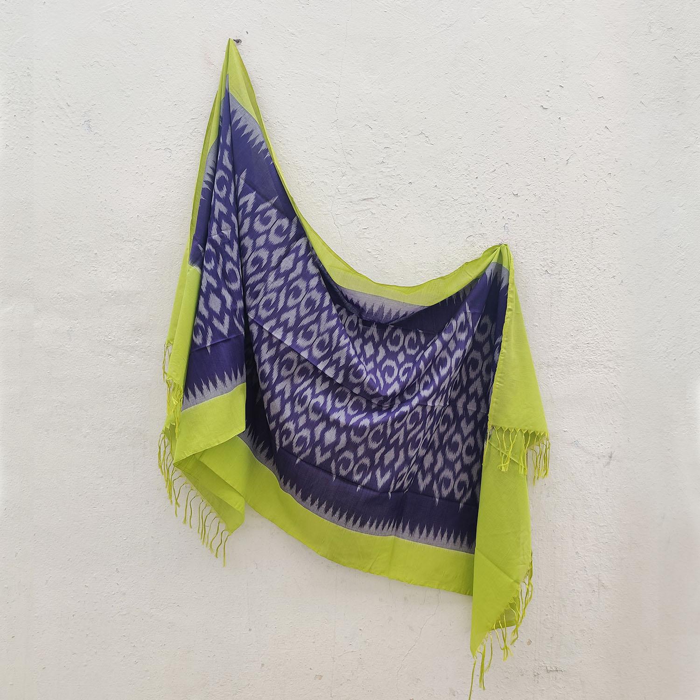 Grape Purple & Green Mercerised Cotton Ikat Dupatta