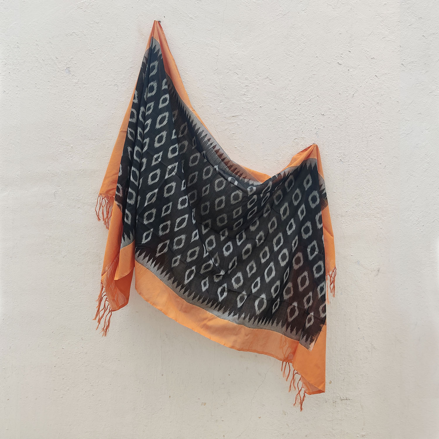 Tangerine & Black Mercerised Cotton Ikat Dupatta