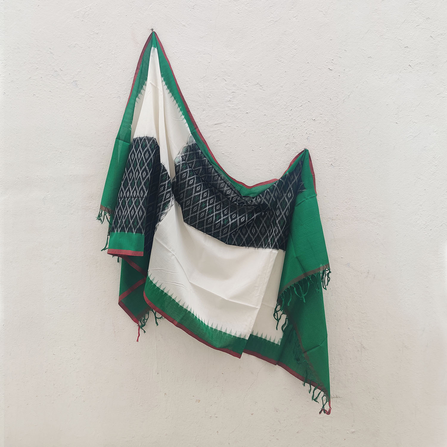 Green, White & Black Cotton Ikat Dupatta