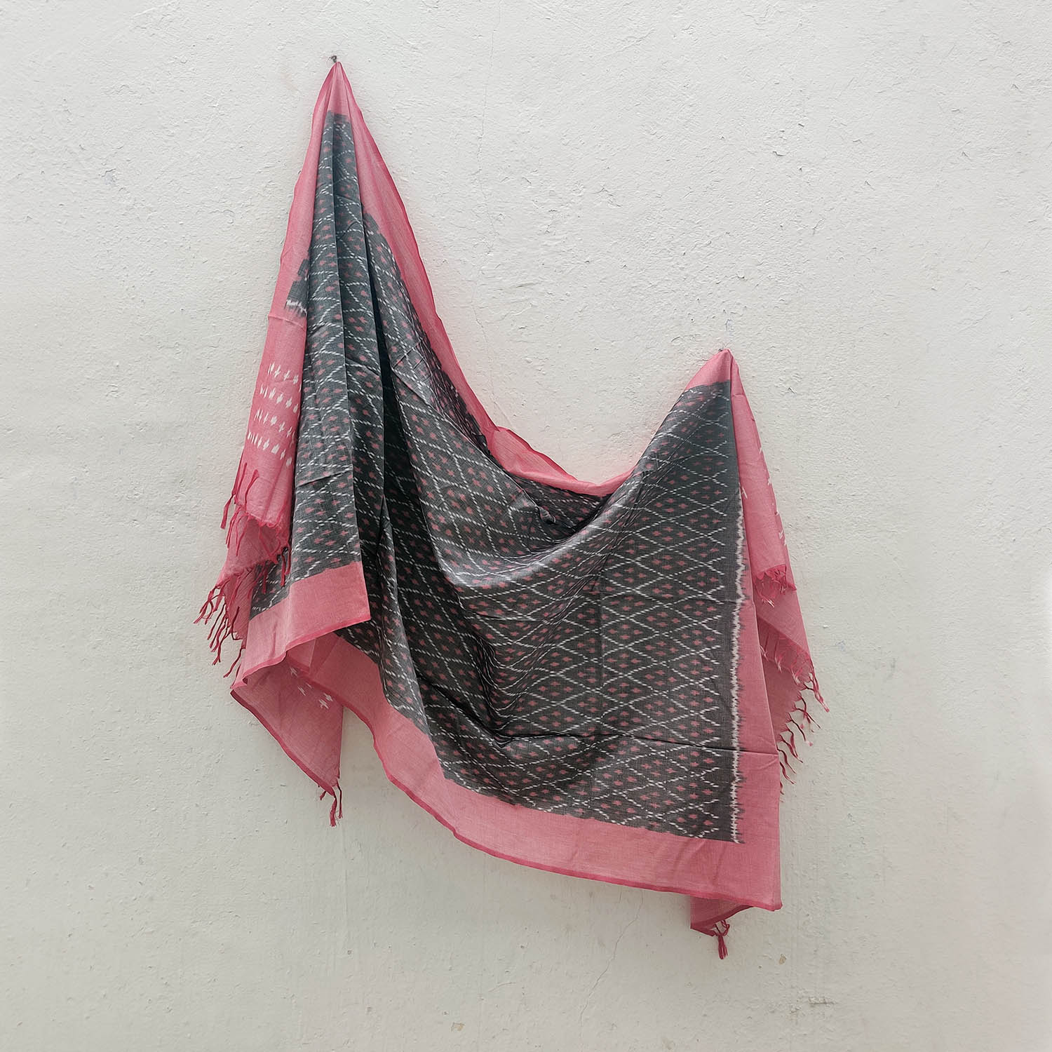 Grey & Pink Mercerised Cotton Ikat Dupatta