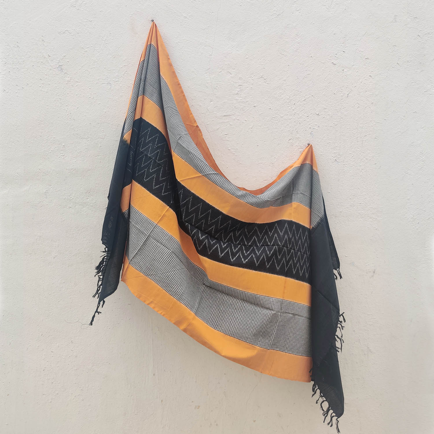 Mustard Yellow, Black & Grey Cotton Ikat-Check Dupatta