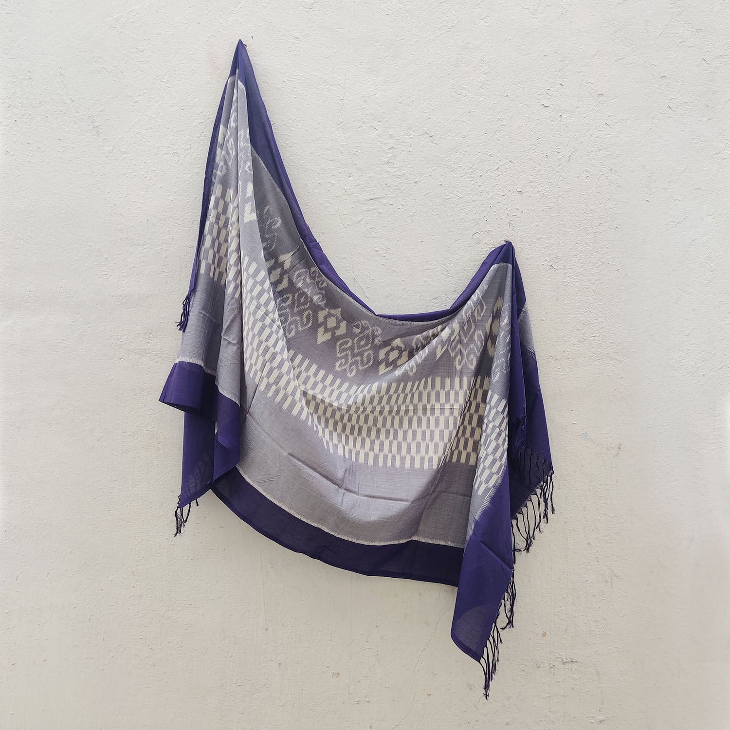 Purple & White Mercerised Cotton Ikat Dupatta