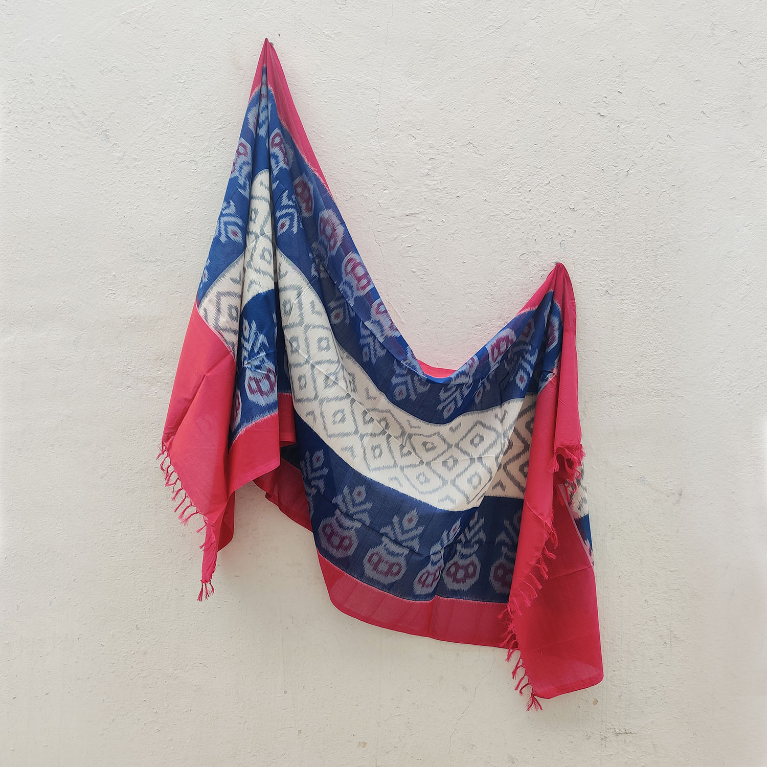Blue, White & Red Mercerised Cotton Ikat Dupatta