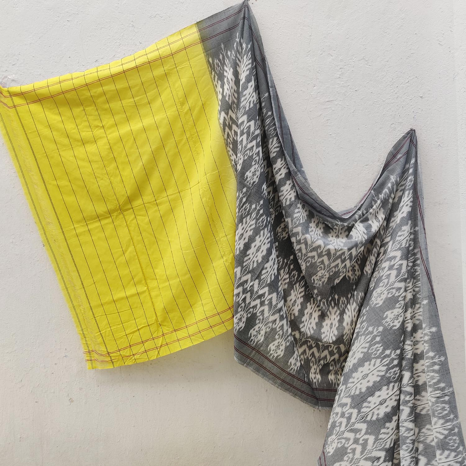 Canary Yellow & Grey South Asian Pattern Ikat Cotton Saree