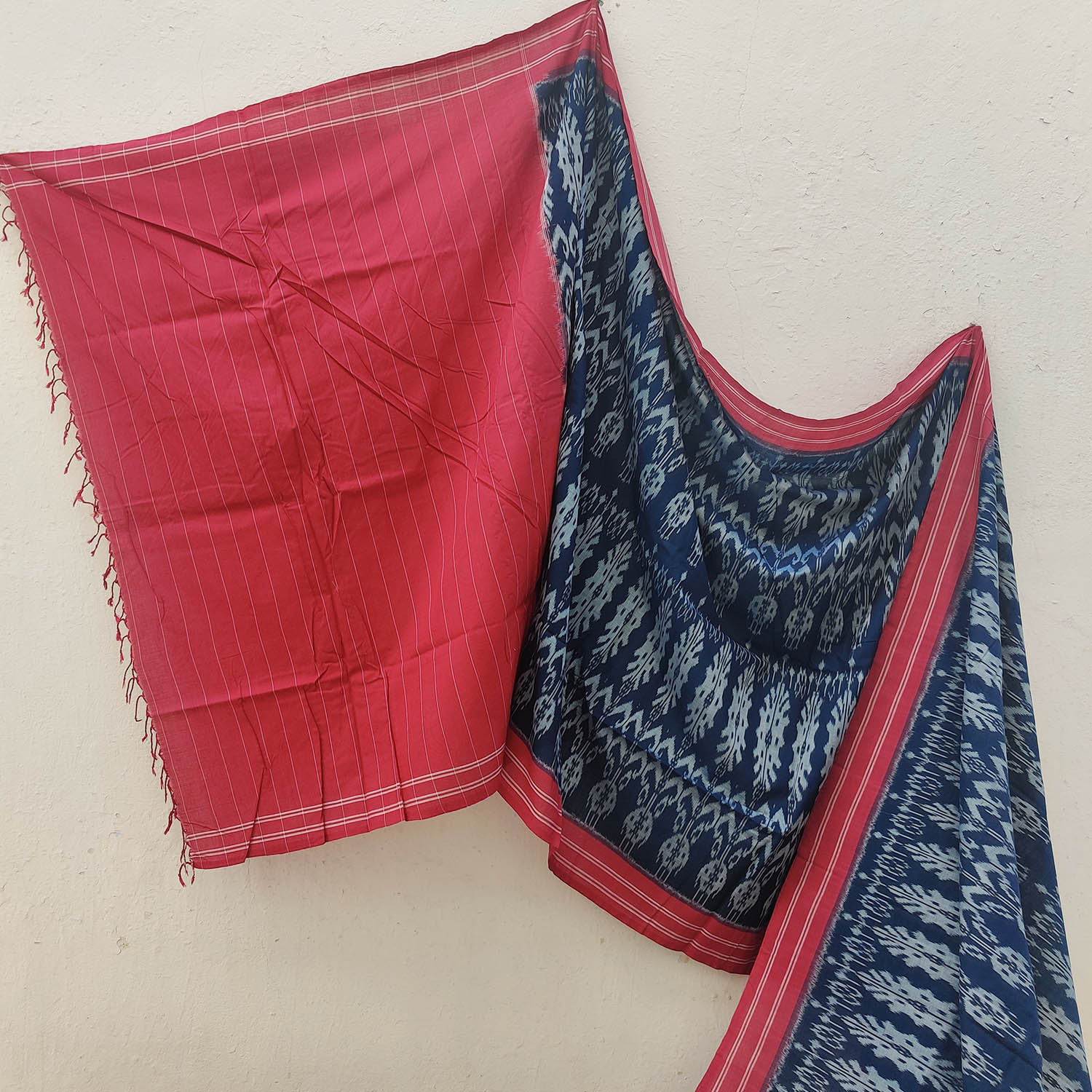Indigo Blue & Red Ikat Cotton Saree with South Asian Weave