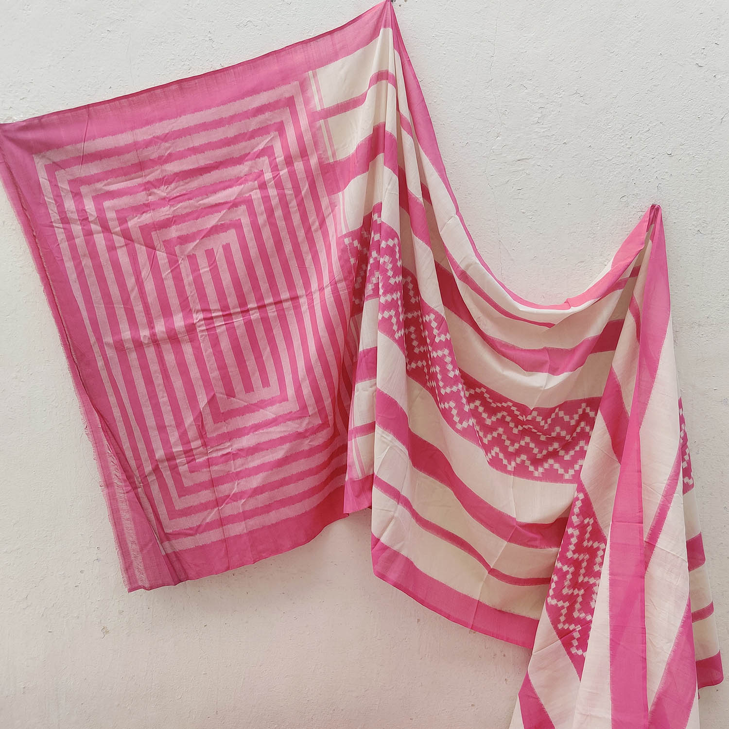 Bubblegum Pink & White Double Ikat Saree