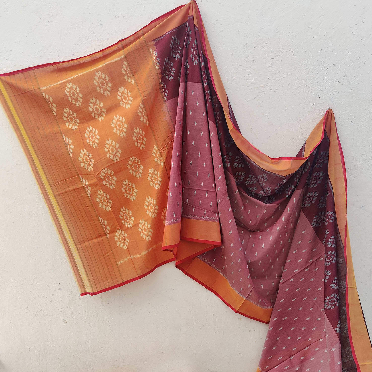 Crimson & Sunset Orange Ikat Cotton Saree