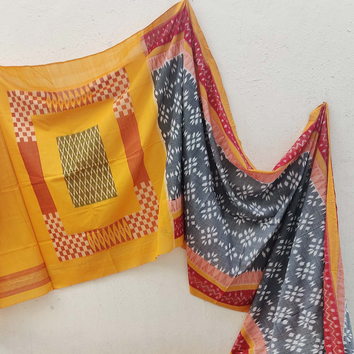 Yellow, Red and Grey Ikat Cotton Saree