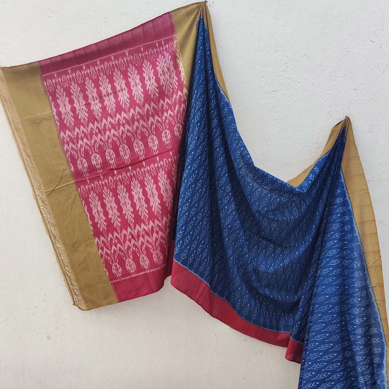 Blue, Red & Yellow Ikat Cotton Saree