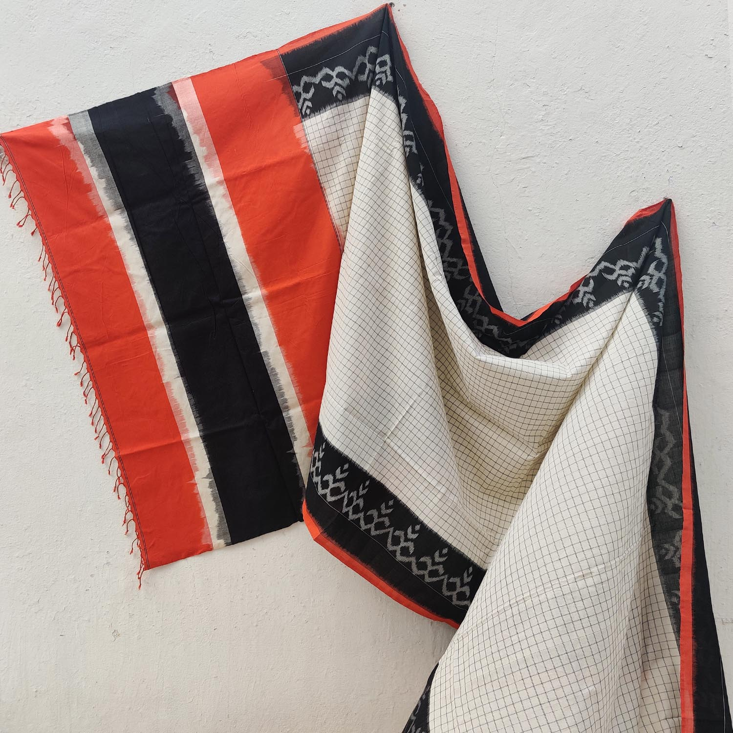 White, Black & Orange Ikat Cotton Saree