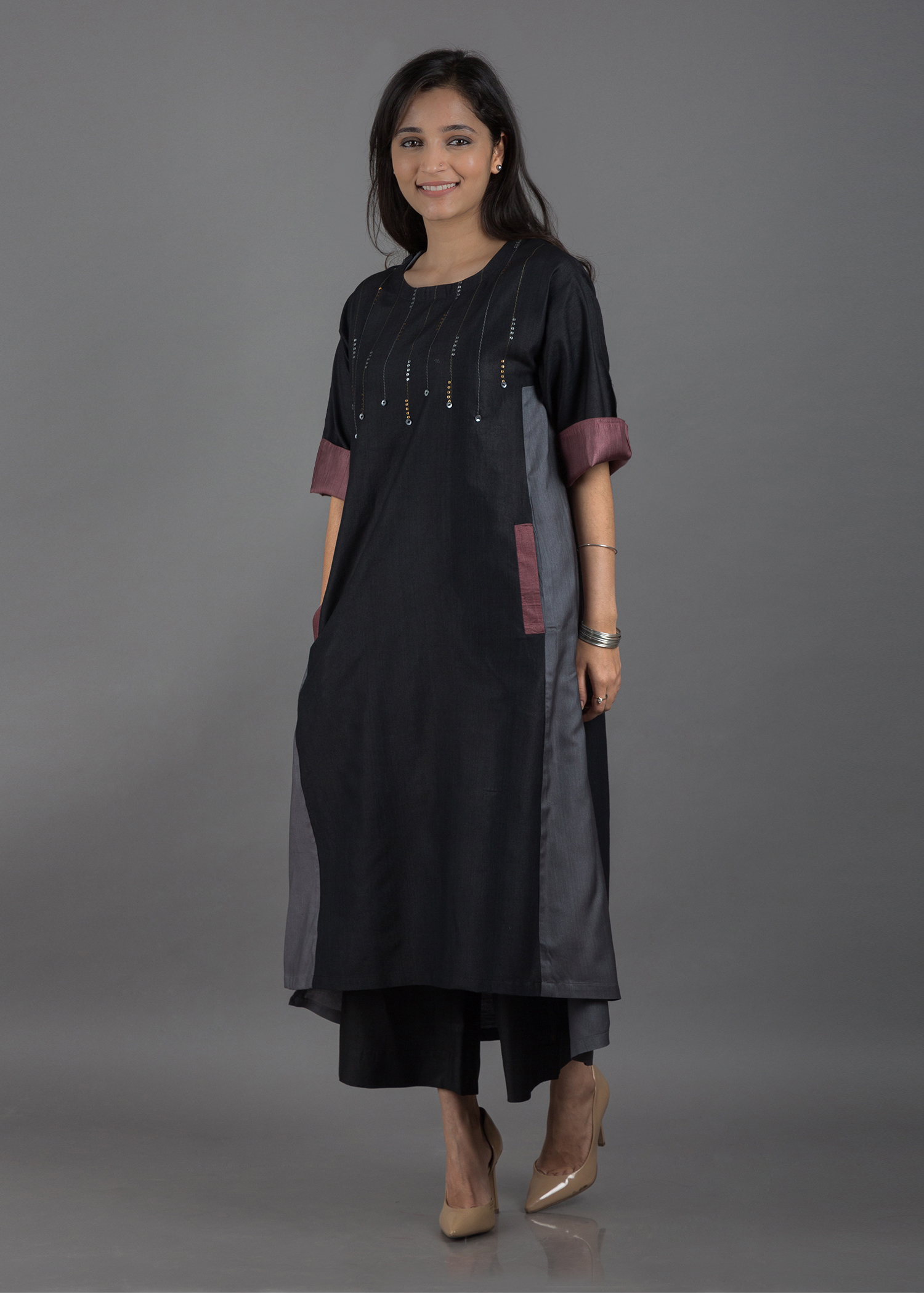 Black, Grey & Mauve Silk Cotton Kurta