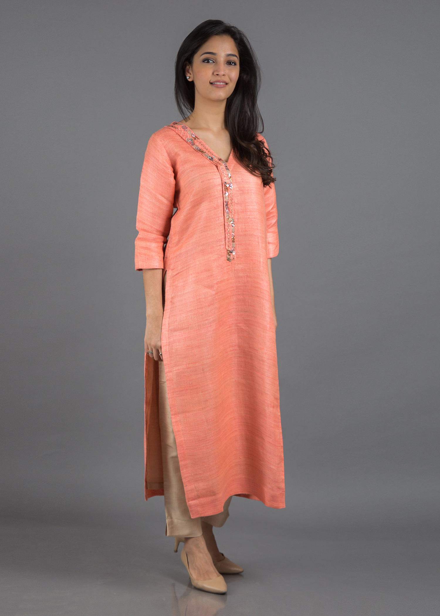 Peach Bhagalpuri Handwoven Silk V-Neck Kurta with Peach Silk Cotton Pants