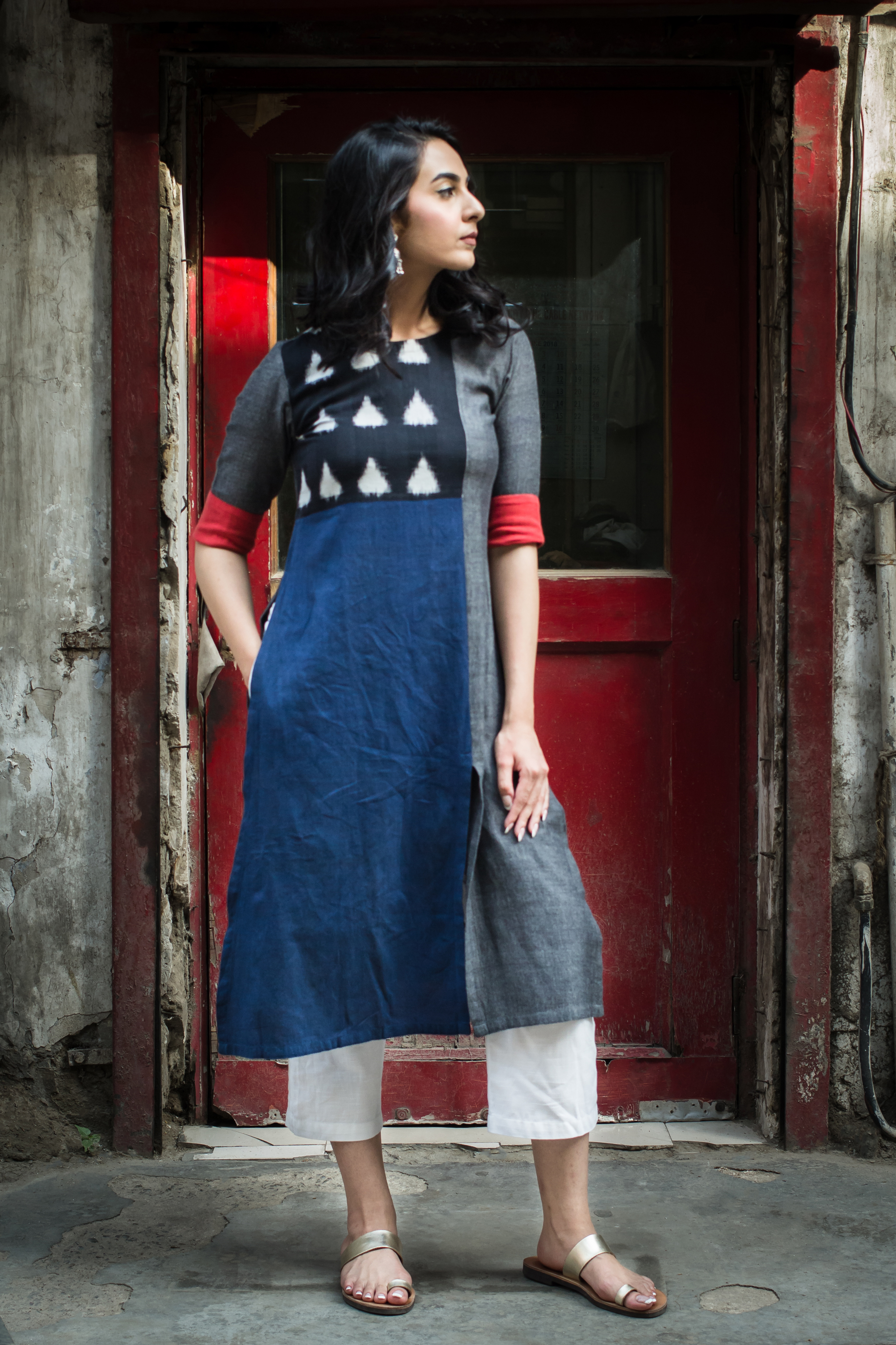 The Red Cuff Kurta - Vaaya Classics