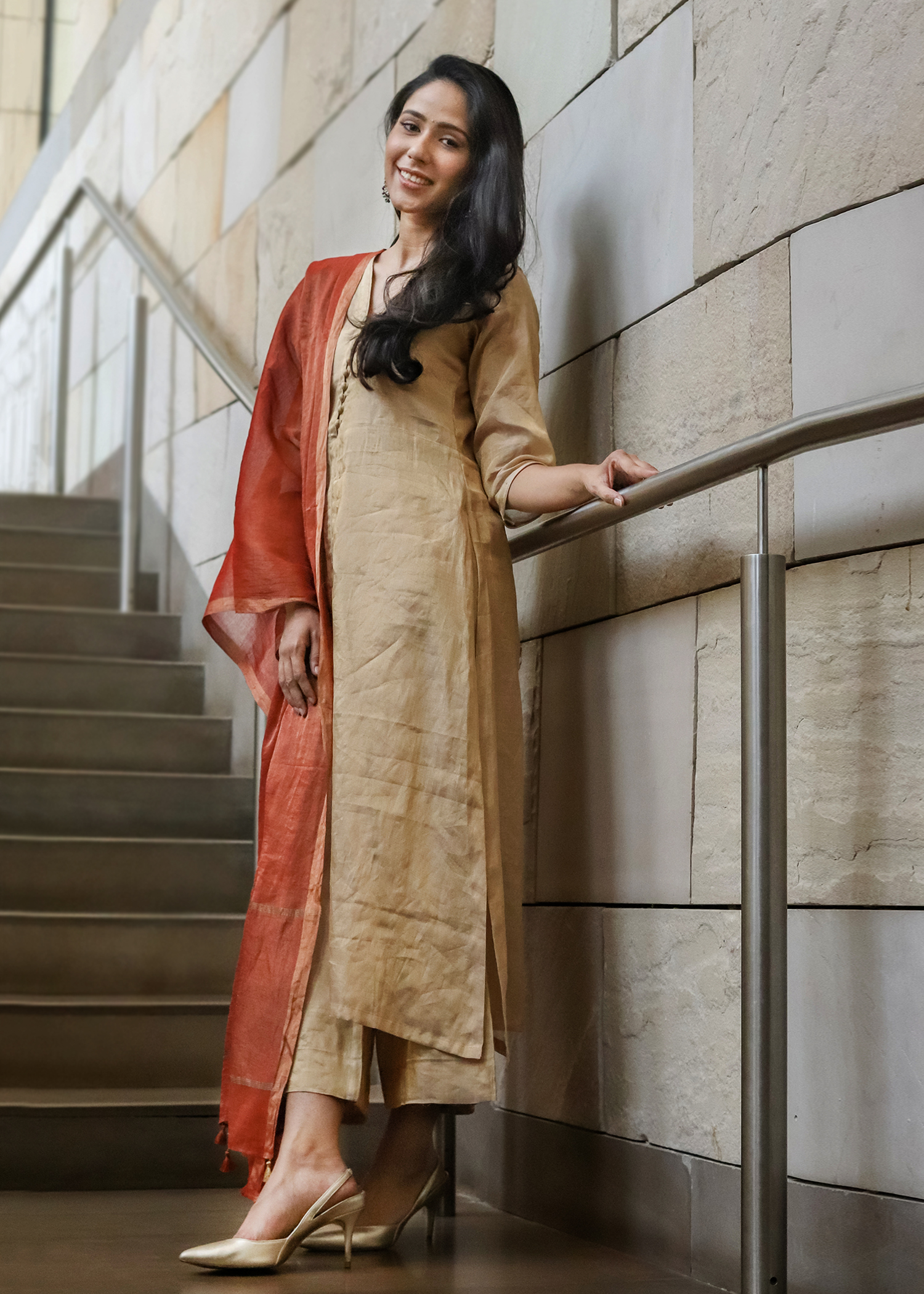 Gold Silk Tissue Chanderi Ensemble