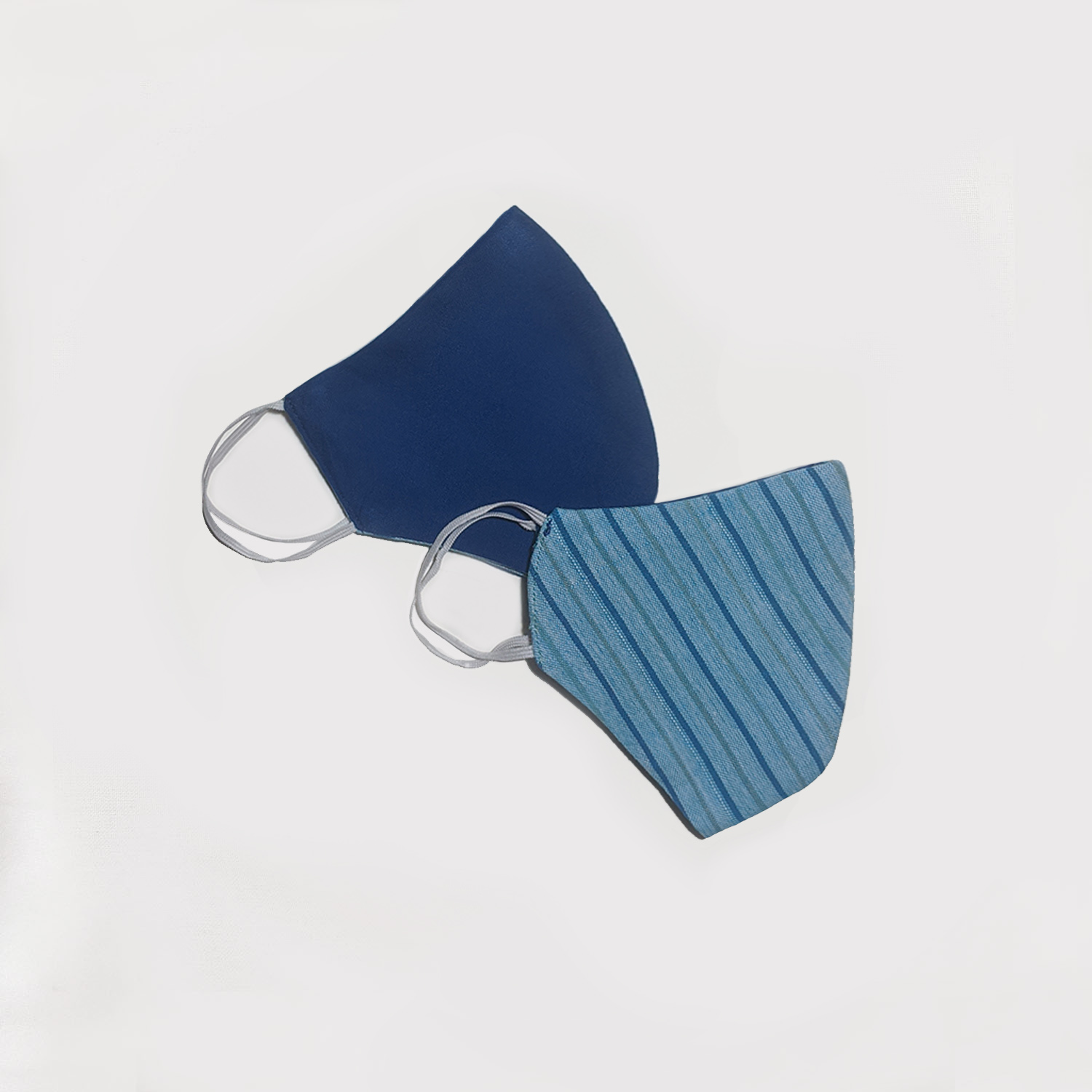 Blue and Light Blue Striped Reversible Face Mask (Set of 2)