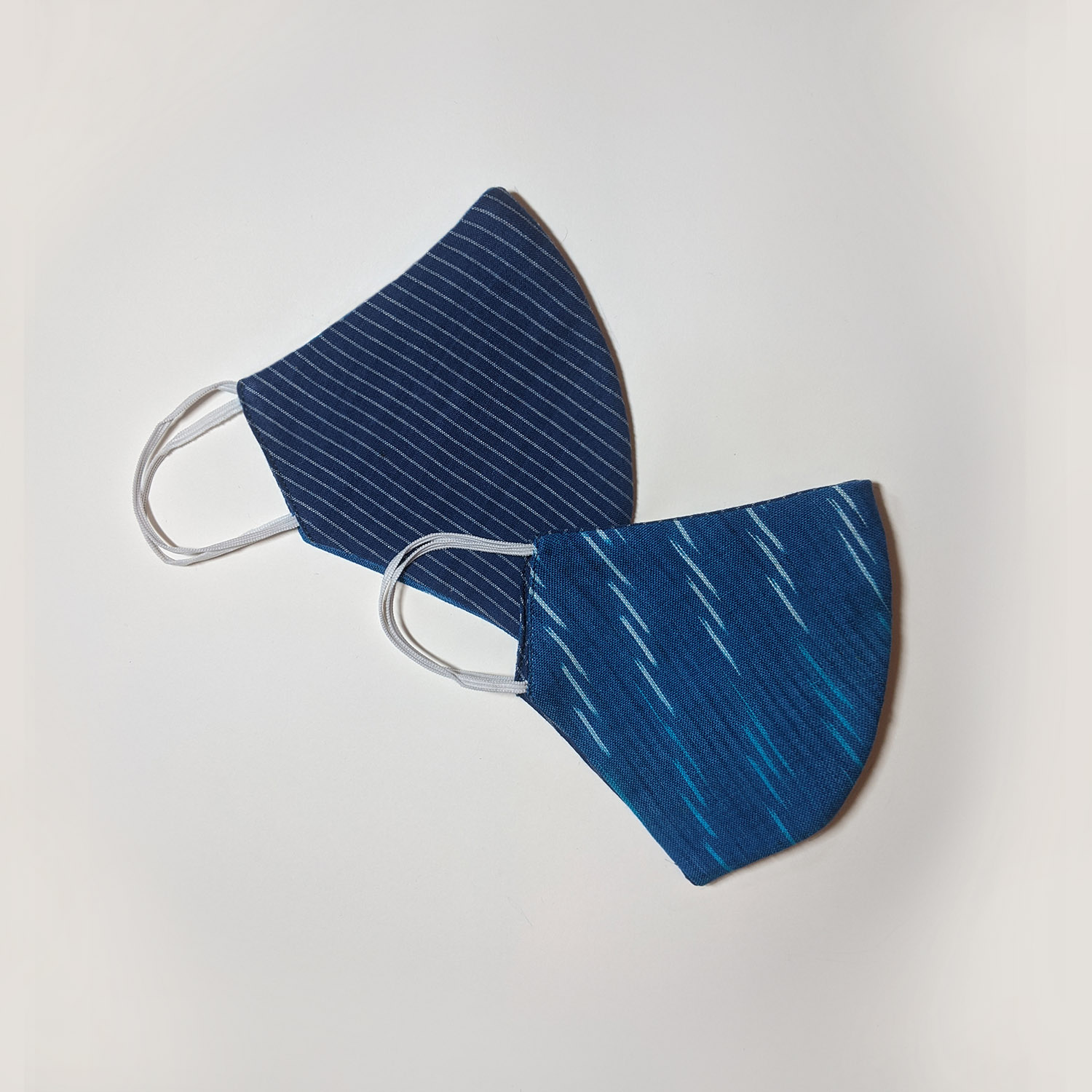 Cobalt Blue Ikat & Pinstripe Reversible Face Mask (Set of 2)