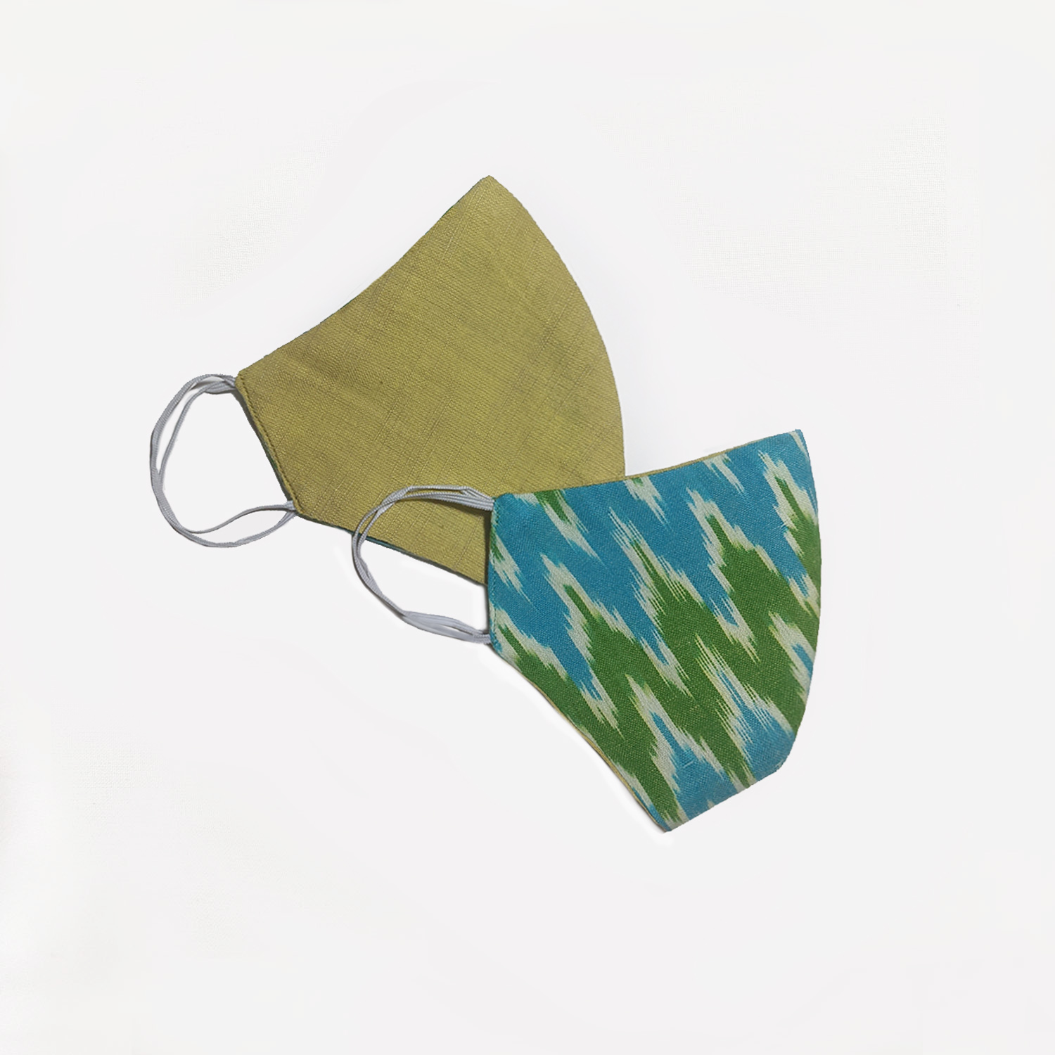 Limited Edition - Butterscotch Yellow and Blue Ikat Reversible Face Mask (Set of 2)