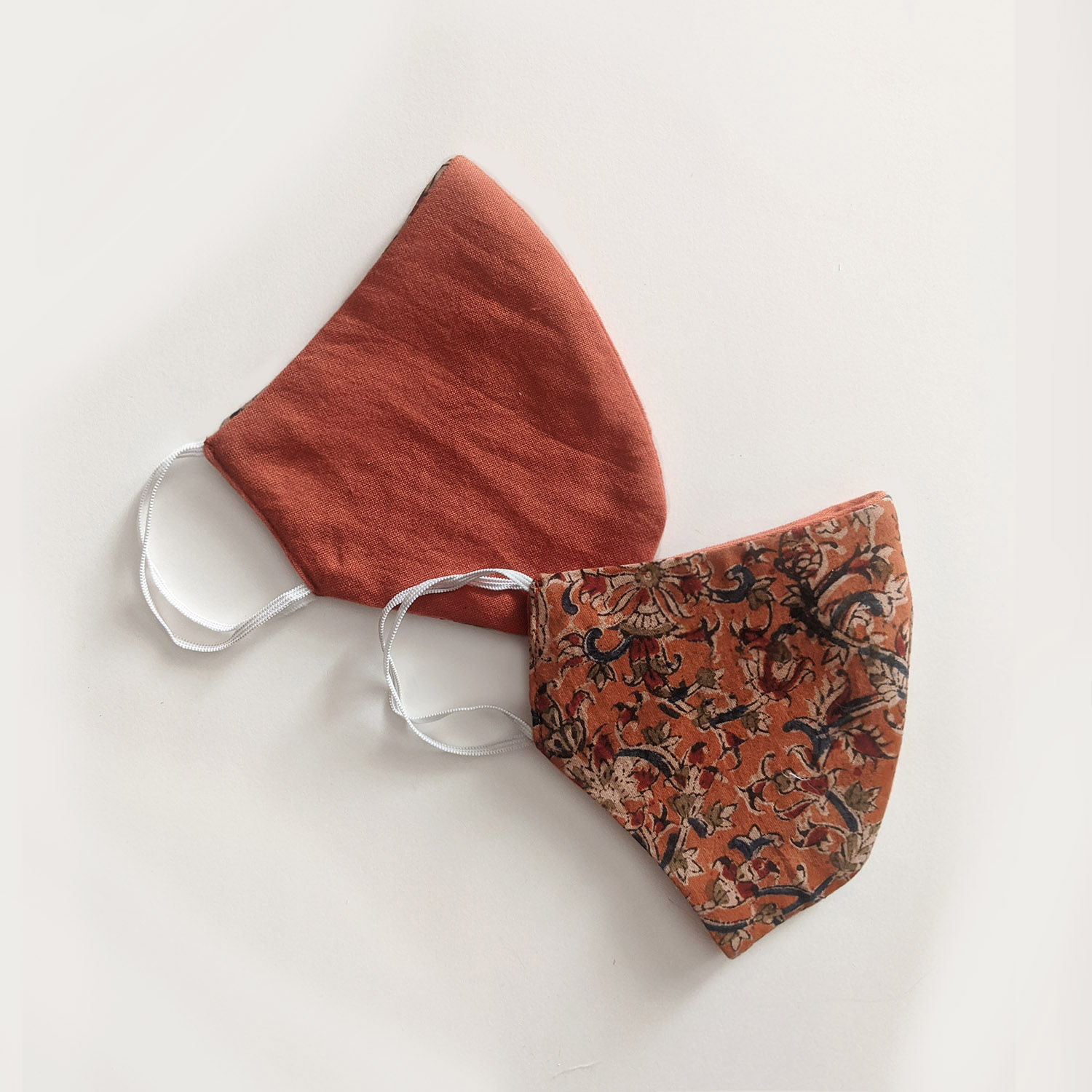 Limited Edition - Rust Orange Kalamkari Reversible Face Mask (Set of 2)