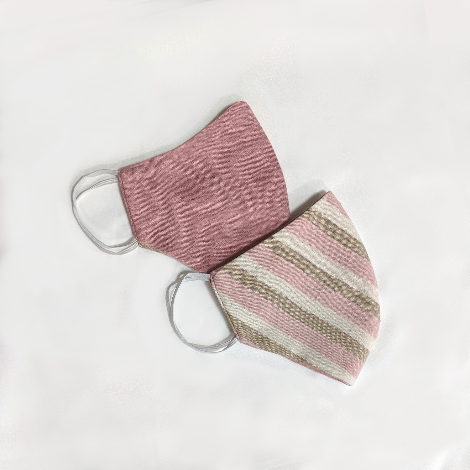 Baby Pink & Stripe Reversible Face Mask (Set of 2)