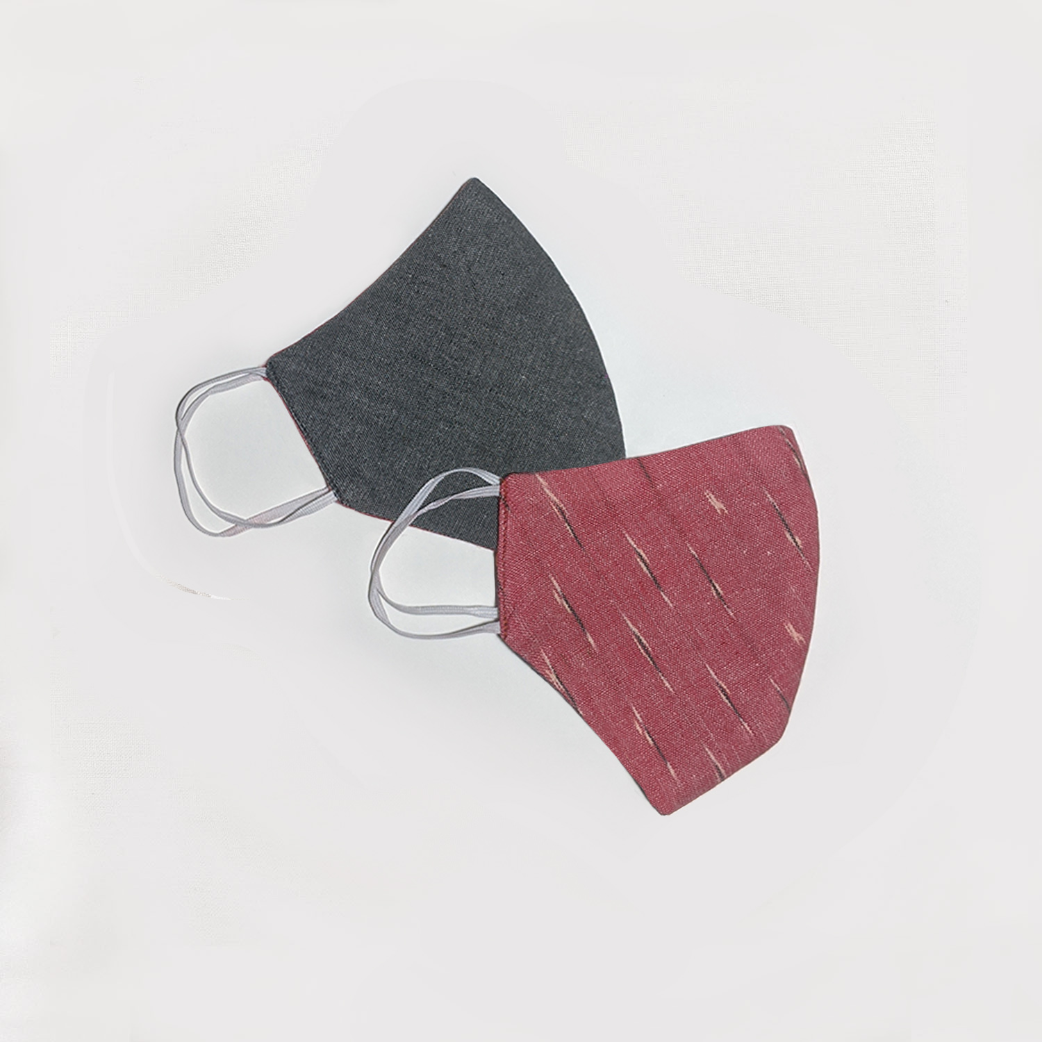 Limited Edition - Carrot Red & Grey Ikat Reversible Face Mask (Set of 2)