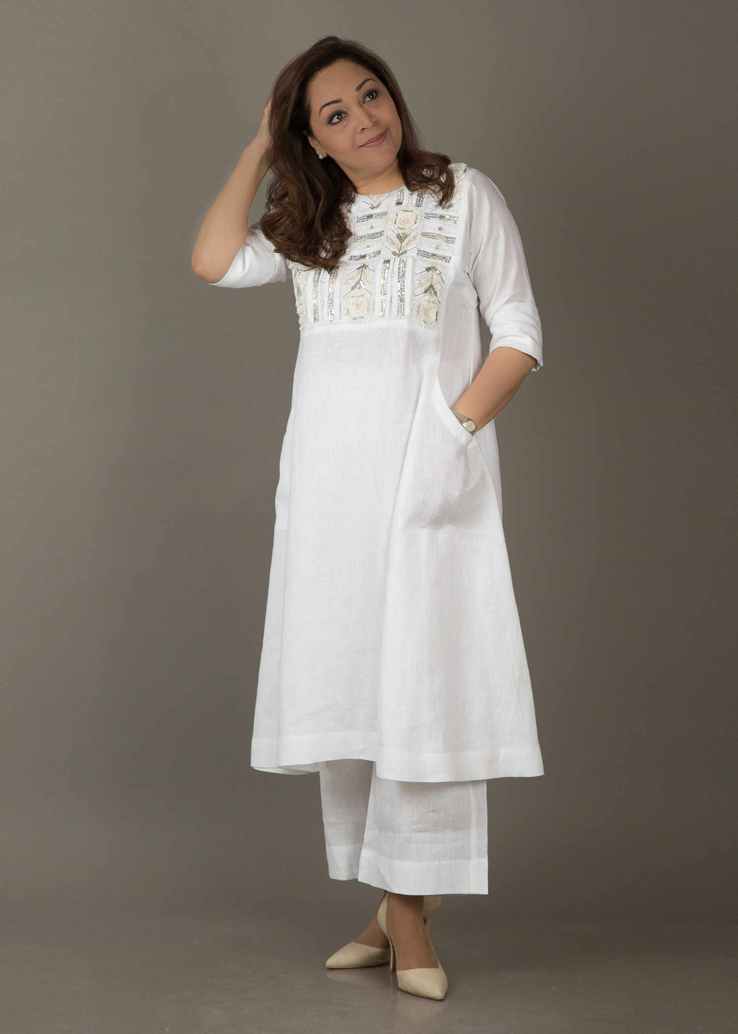 Ivory White Pure Linen Kurta with Cut-Fray Handwork
