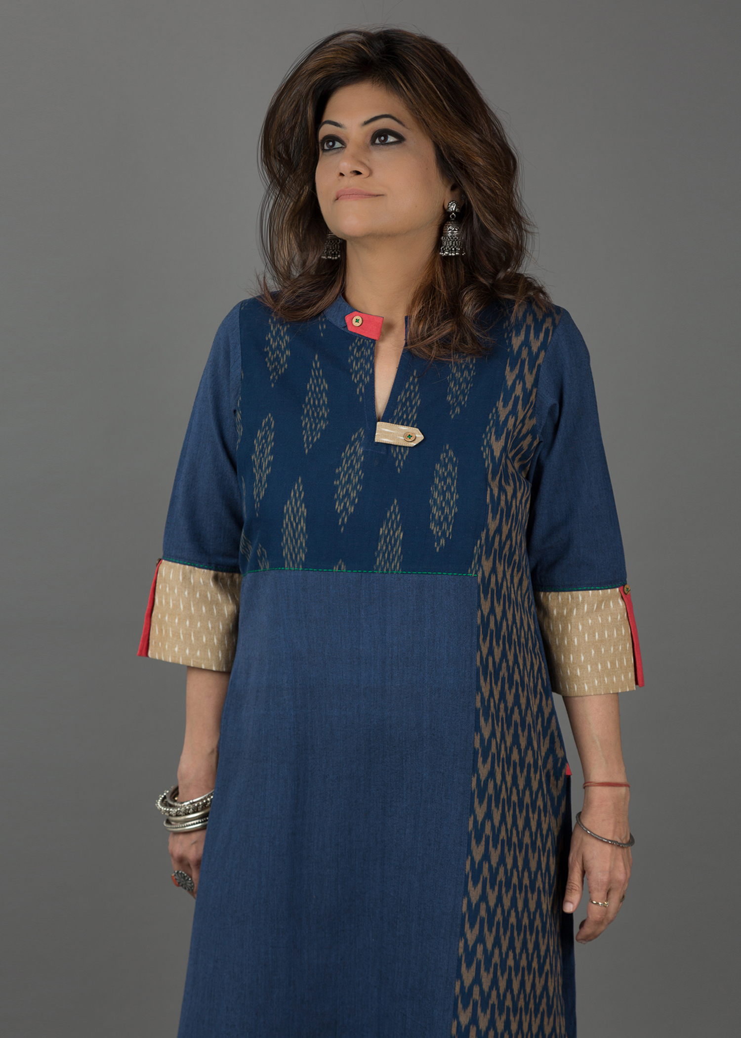 Navy & Beige Handwoven Cotton with Ikat Yoke & Panel Kurta