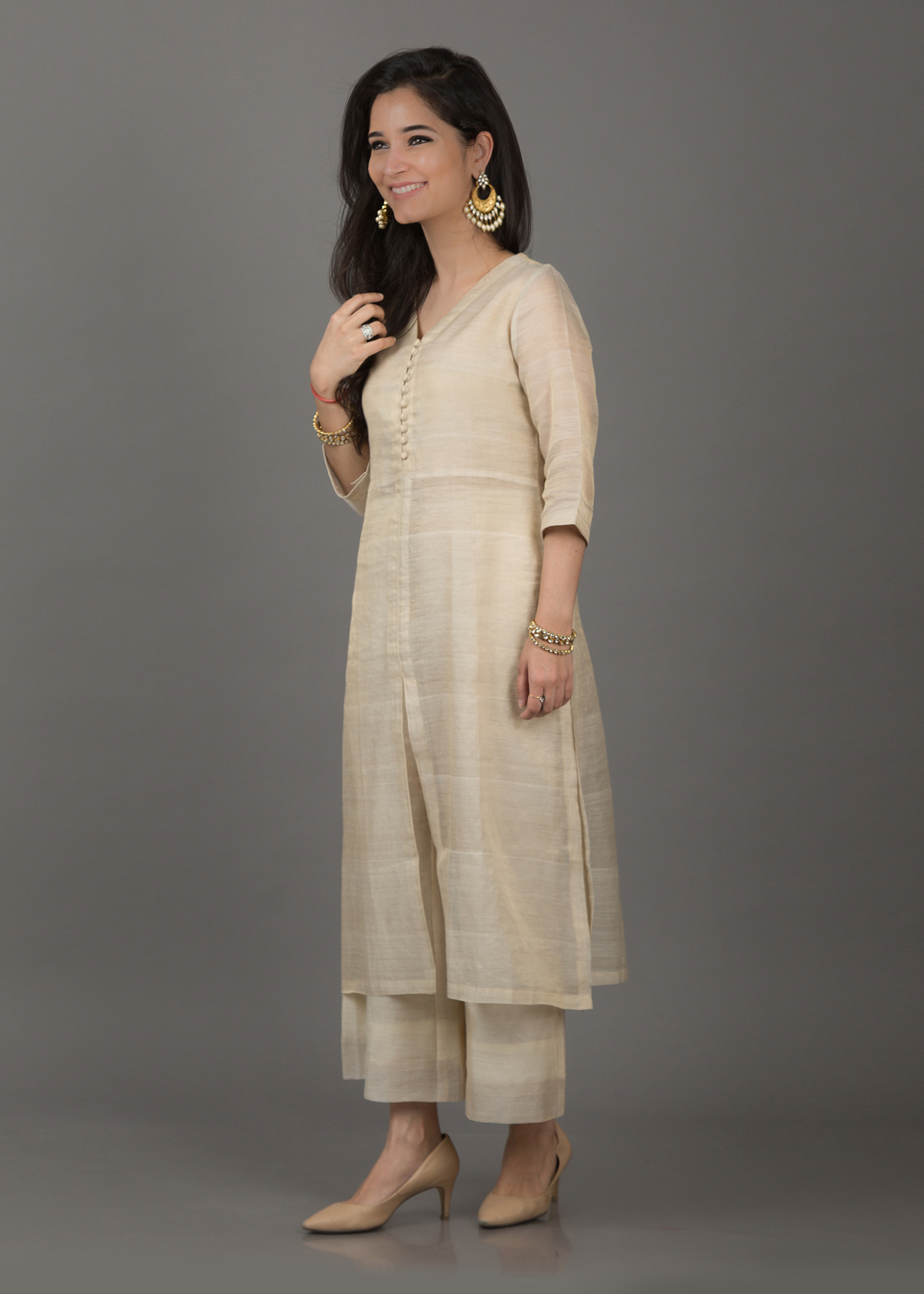 Beige & Gold Tissue Silk Chanderi Ensemble
