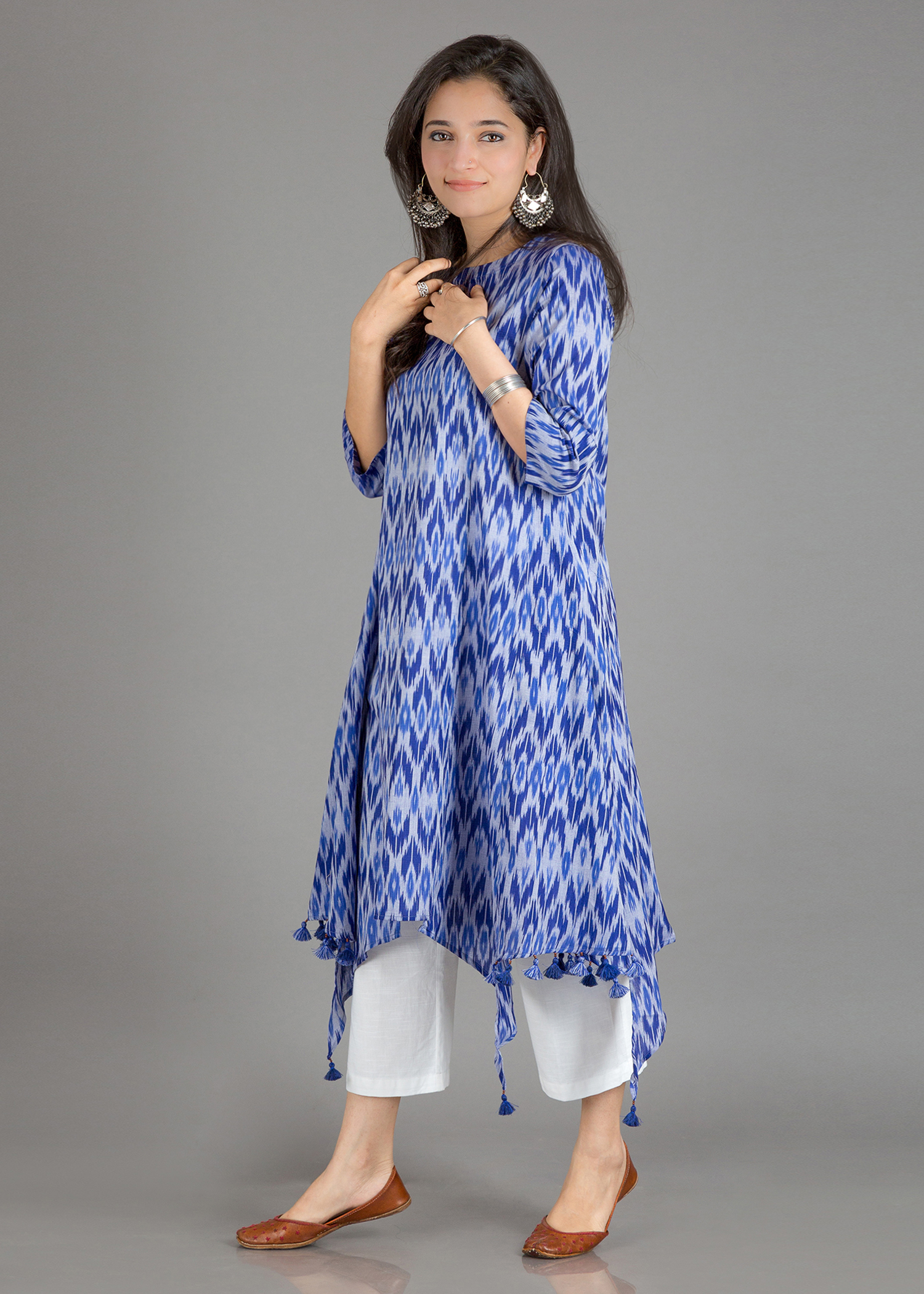 Blue Bohemian Mercerized Ikat Kurta with Handmade Tassels