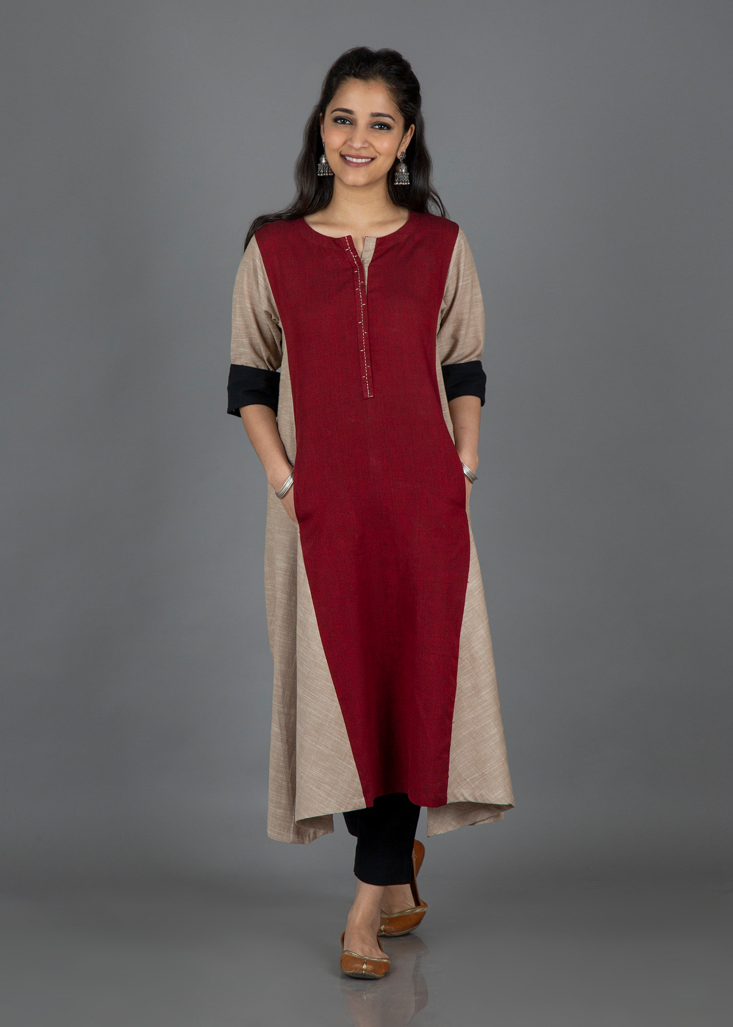 Oat Beige & Burgundy Panel Dress/Kurta