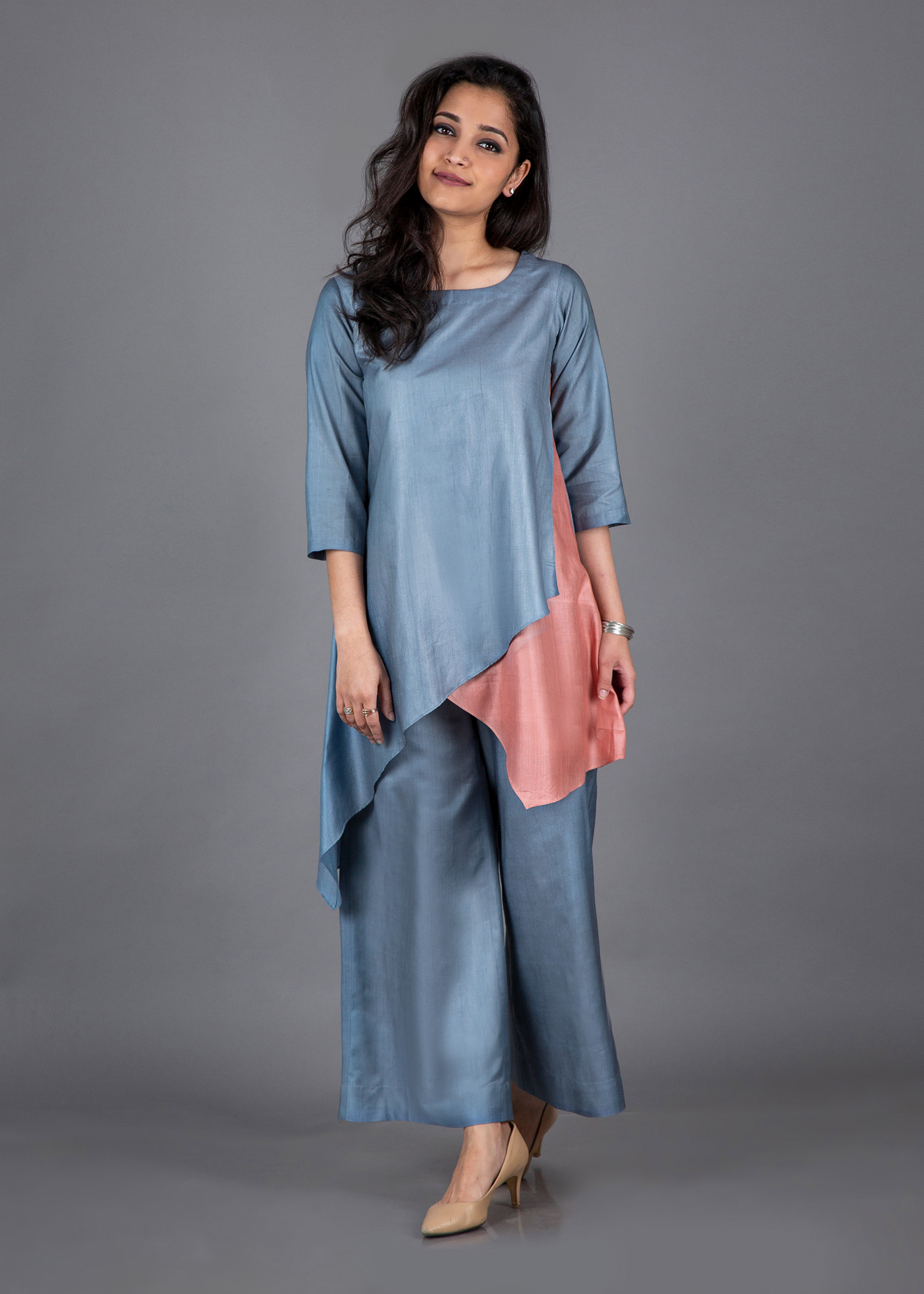 Powder Blue & Peach Silk Cotton Ensemble